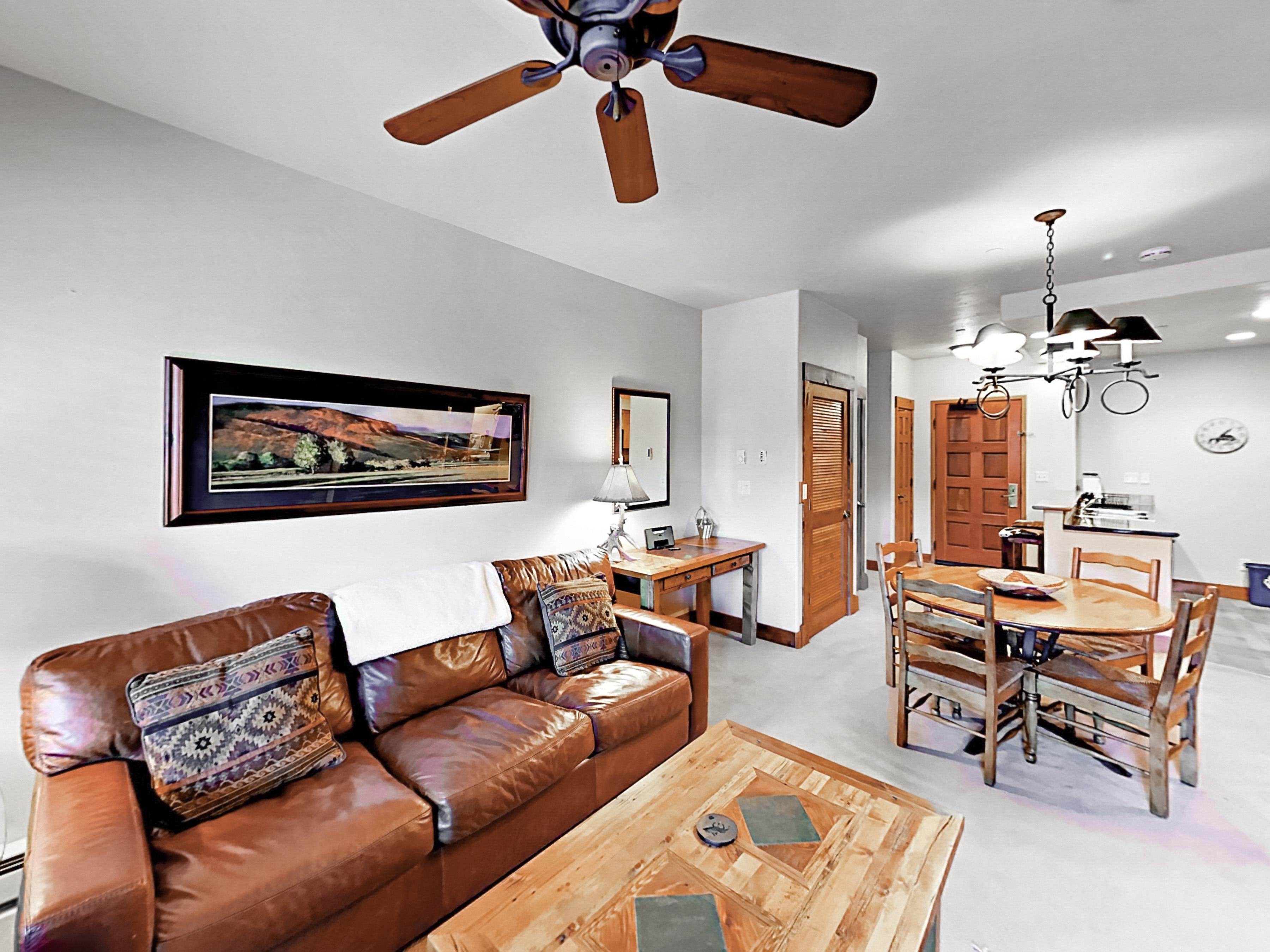 Comfortable leather couch and chair, plus coffee table for board or card games. Complimentary Wi-Fi is provided.