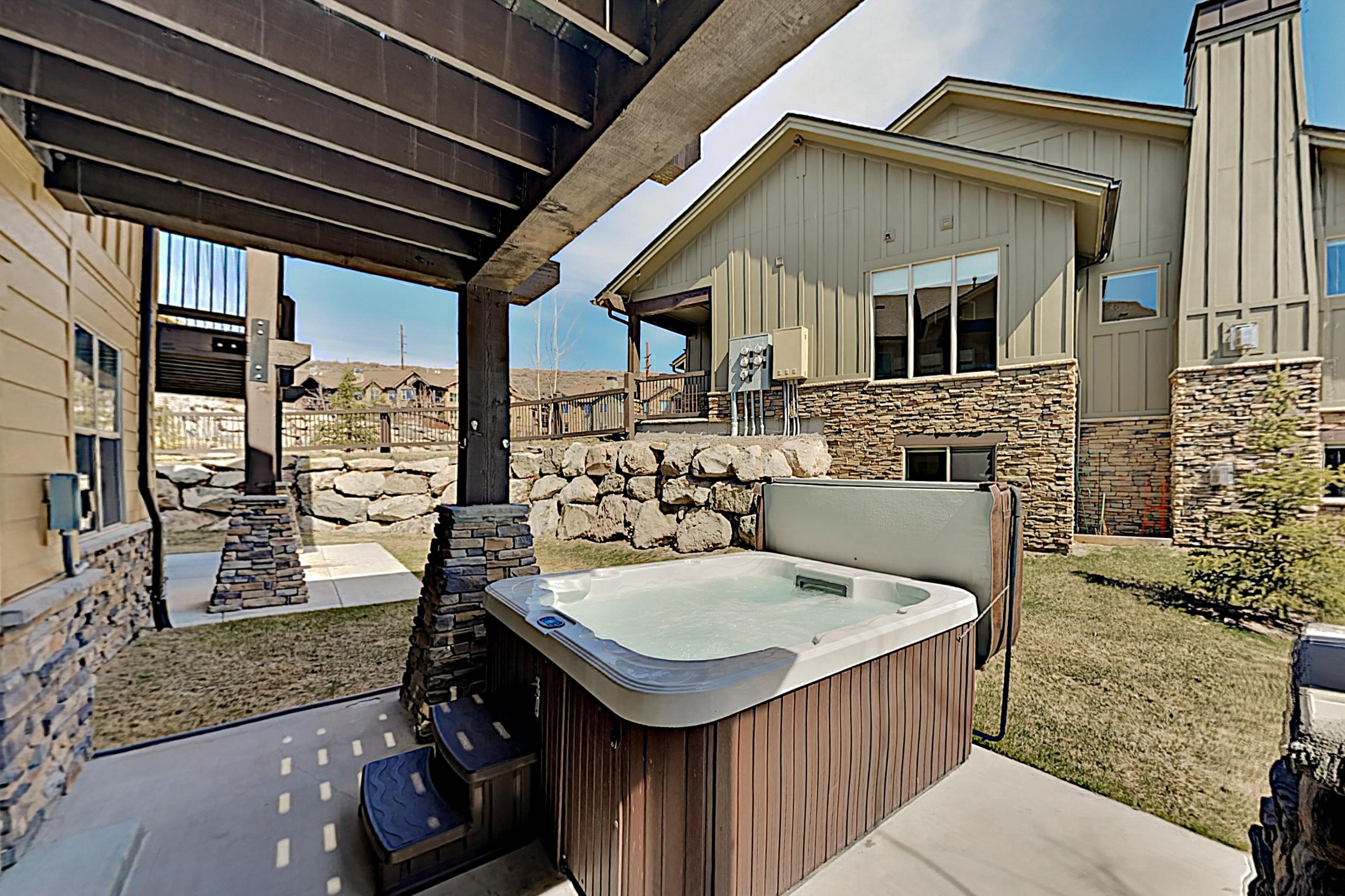 After a day on the mountain, take a dip in the private 6-person hot tub.