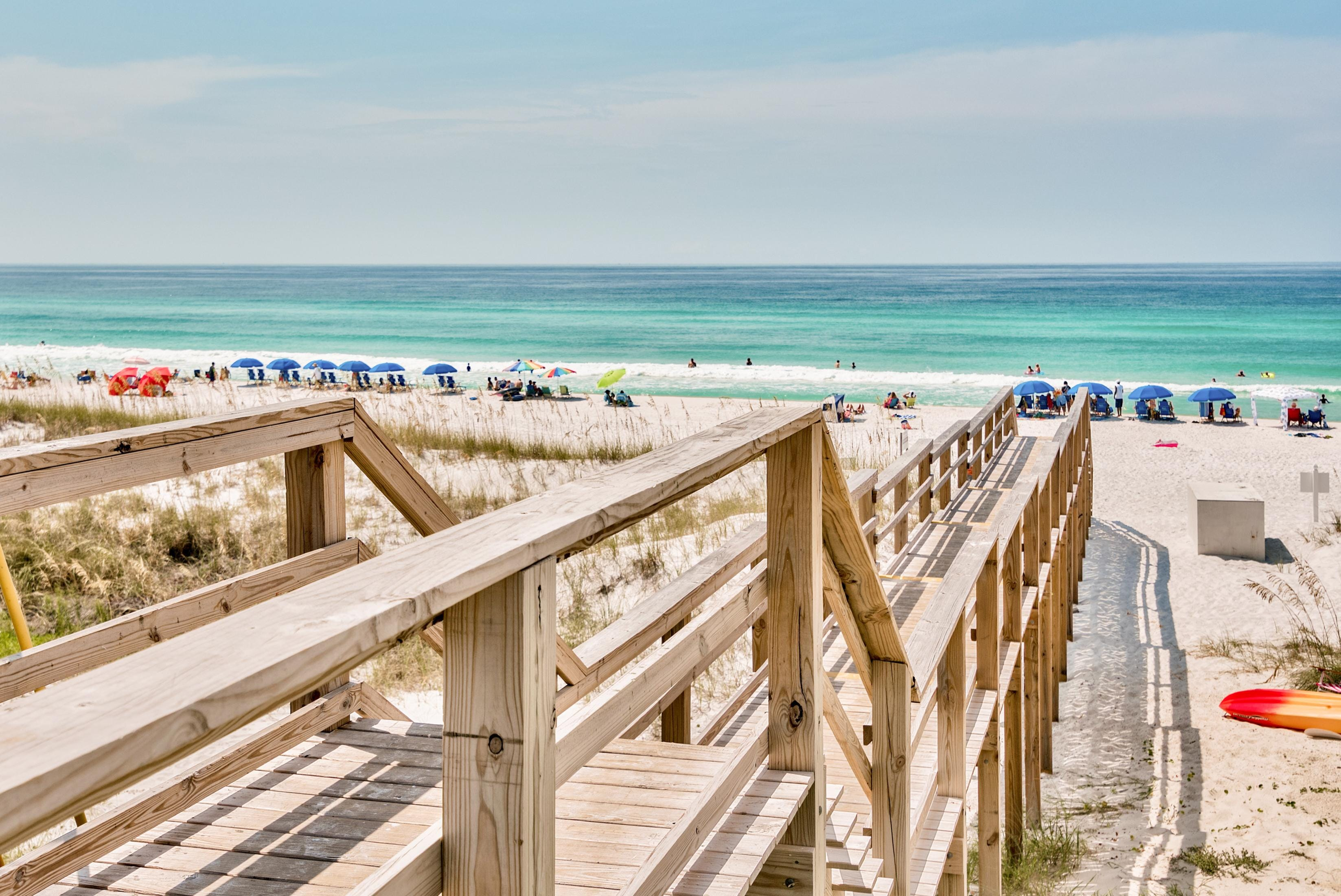 The sugar-white sandy beach is only 75 yards away and has a private beach access from your home!