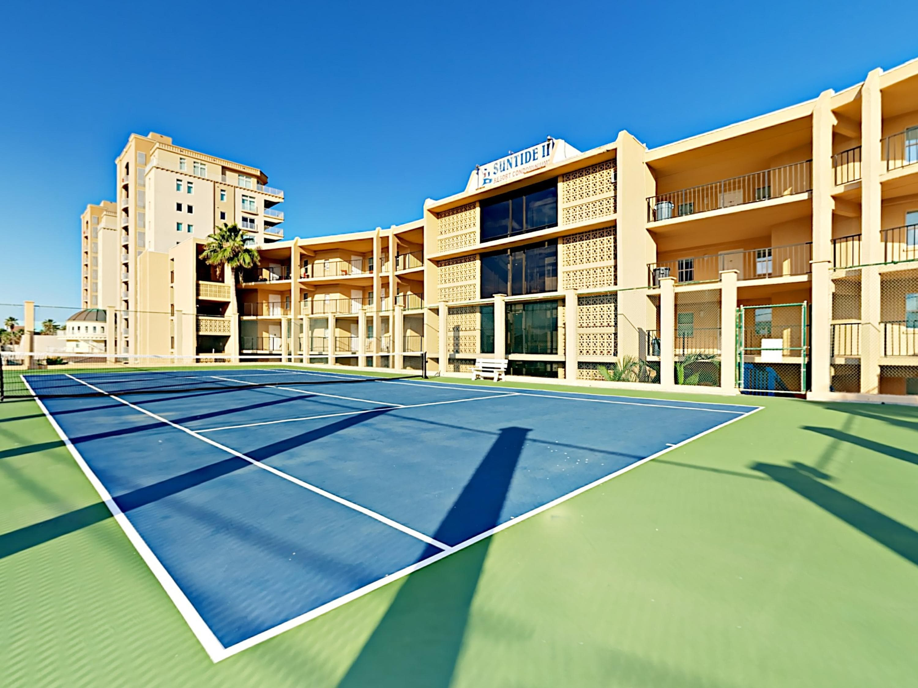 Play a match on the 2nd-floor tennis courts.