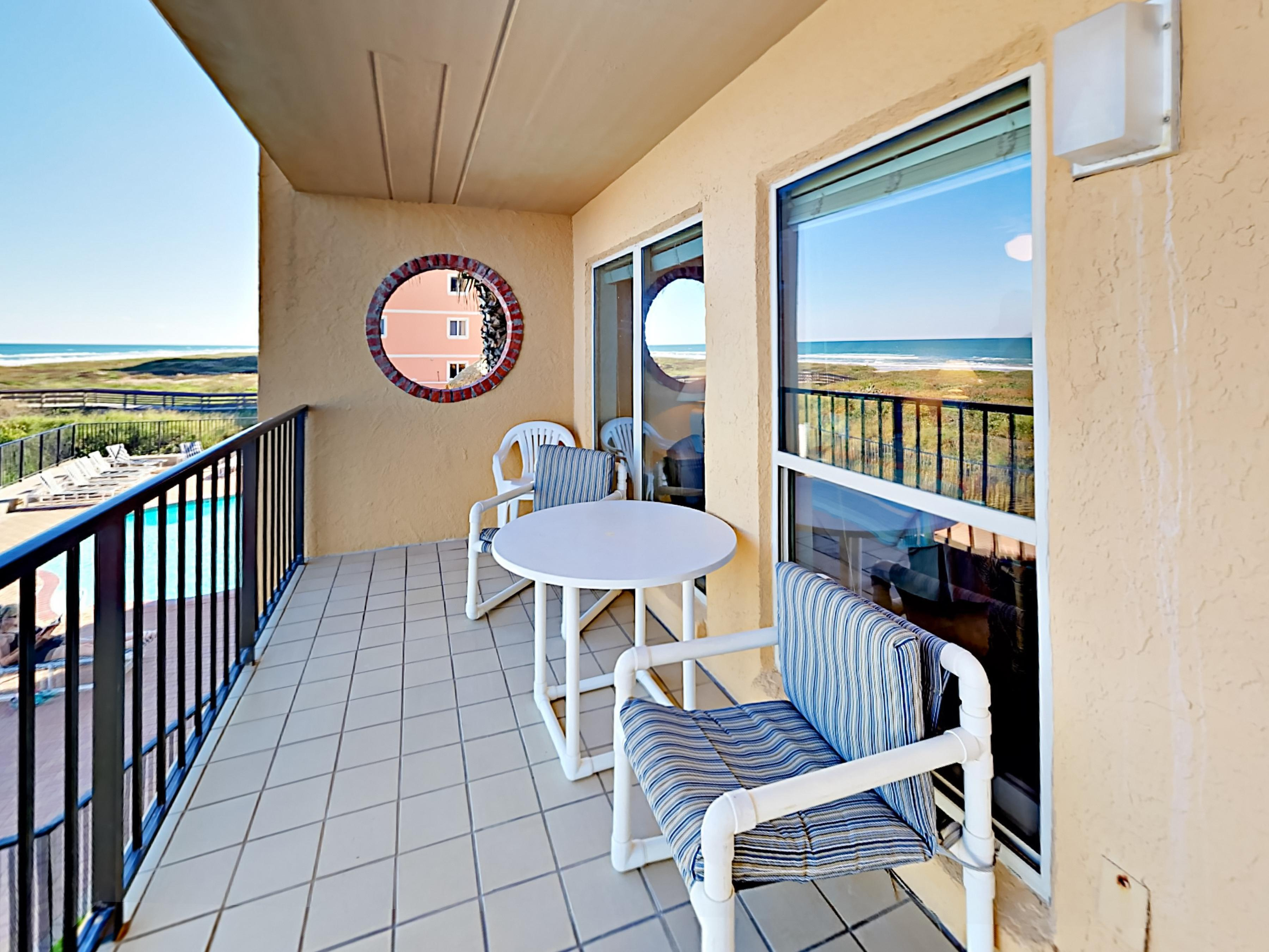 Welcome to your condo at South Padre Island! Enjoy panoramic views overlooking the Gulf of Mexico from the private balcony.