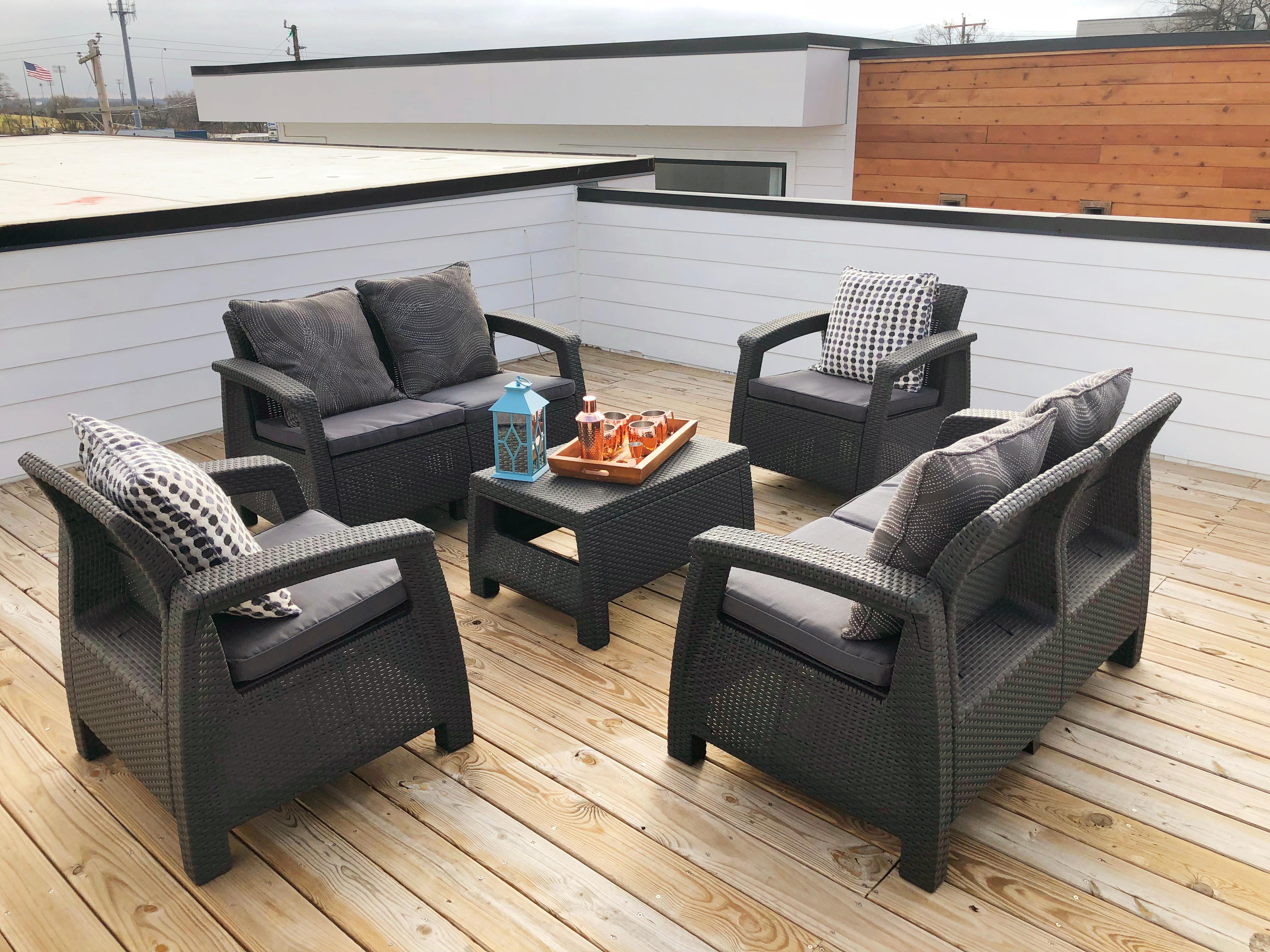 Relax and enjoy the fresh air on the rooftop patio.