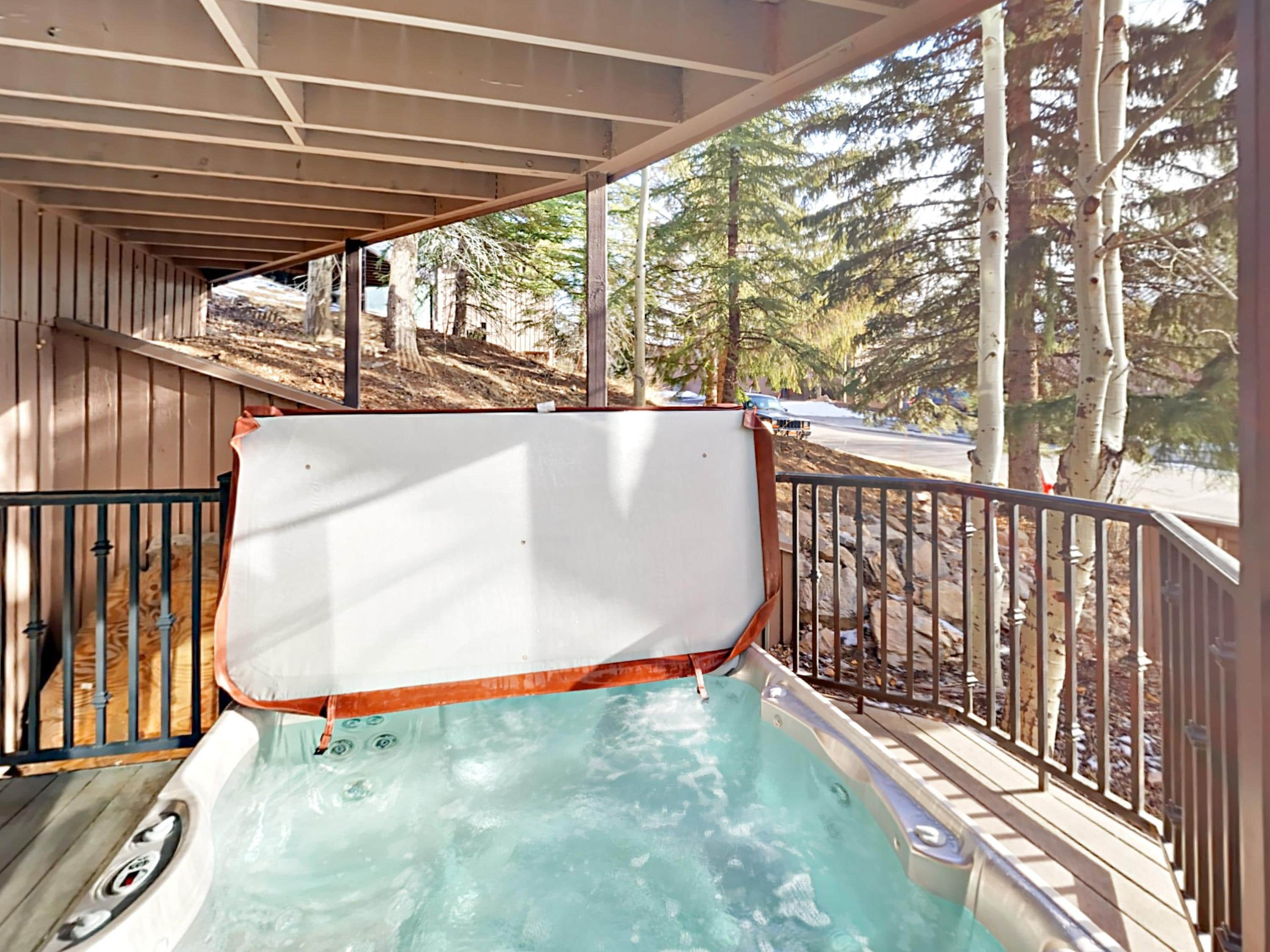 Soak in the private 7-person hot tub after a day exploring the mountain.