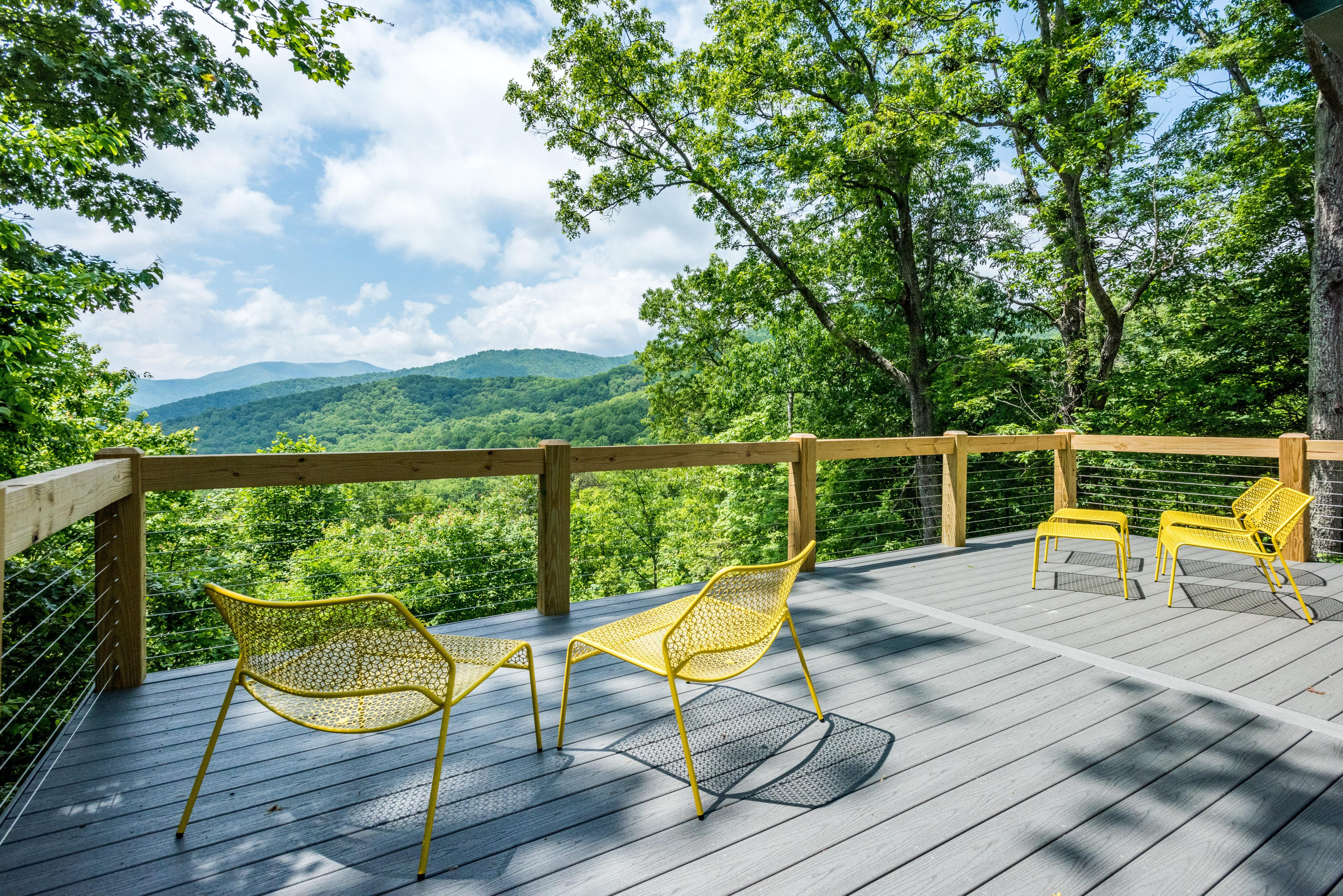 Take in sweeping views of the Blue Ridge Mountains from your deck.