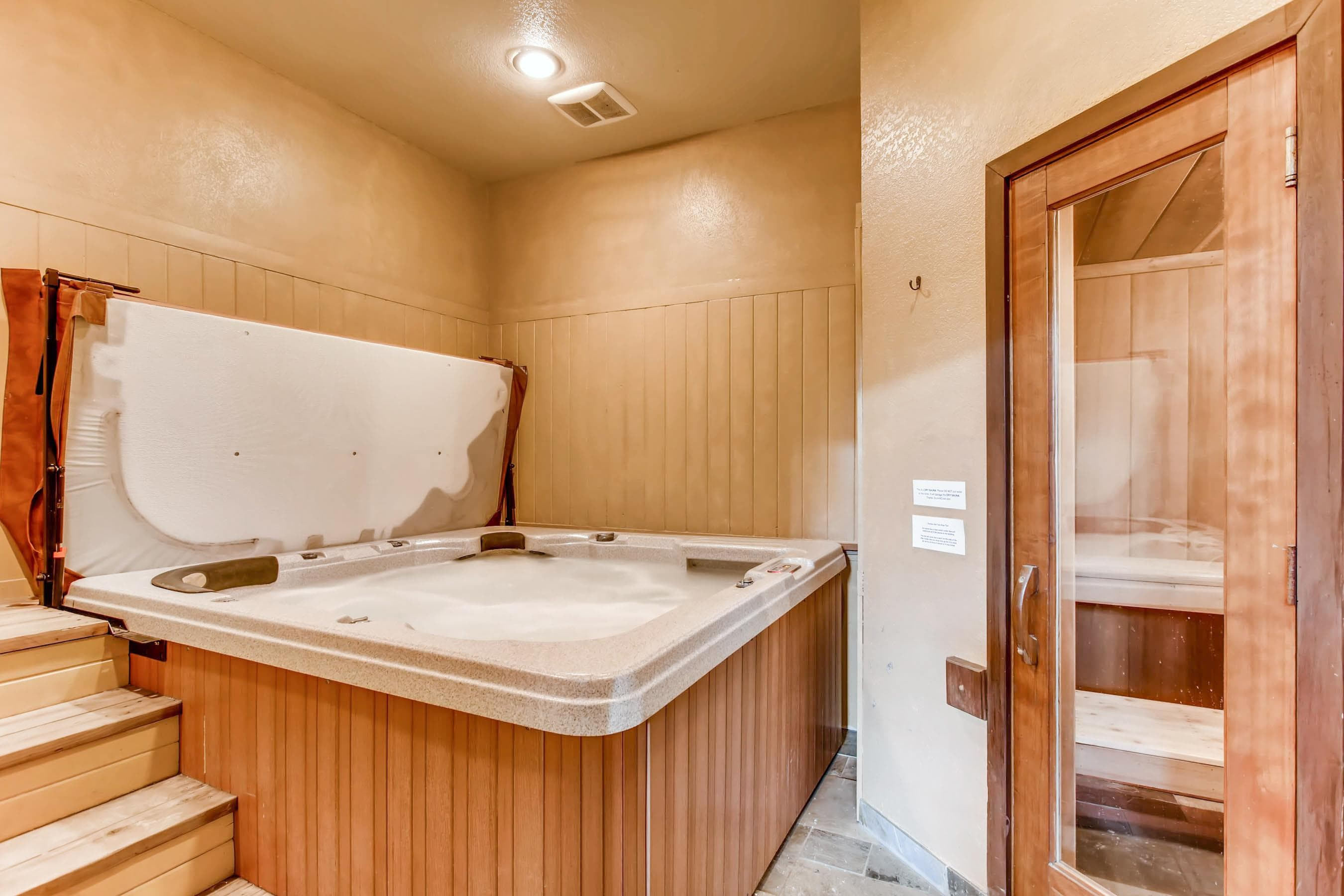 Relax in the private spa room with a 6-person hot tub and a dry sauna.
