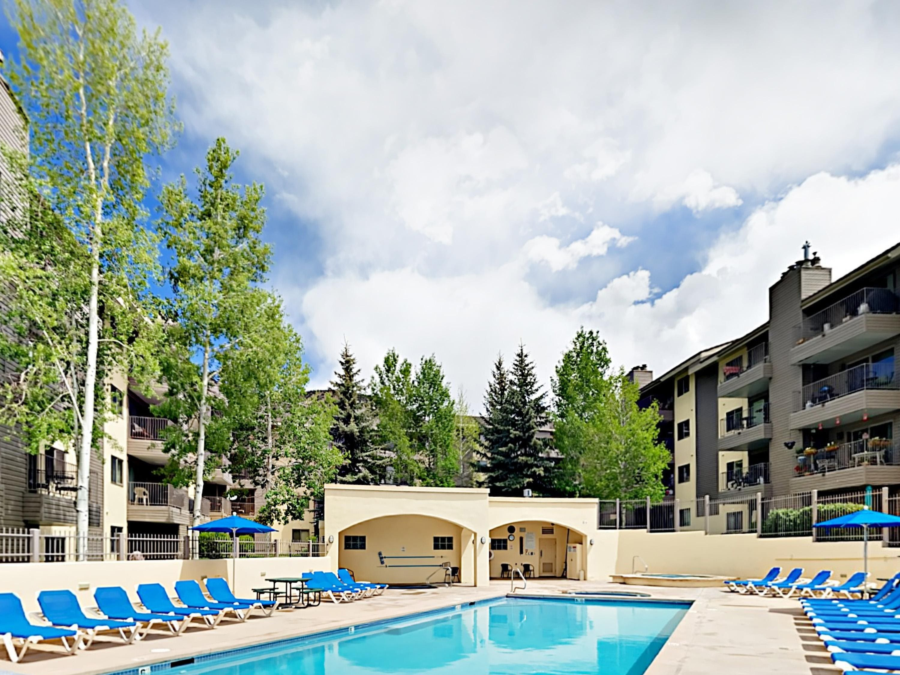 In summer months, soak up the sun by the community pool.