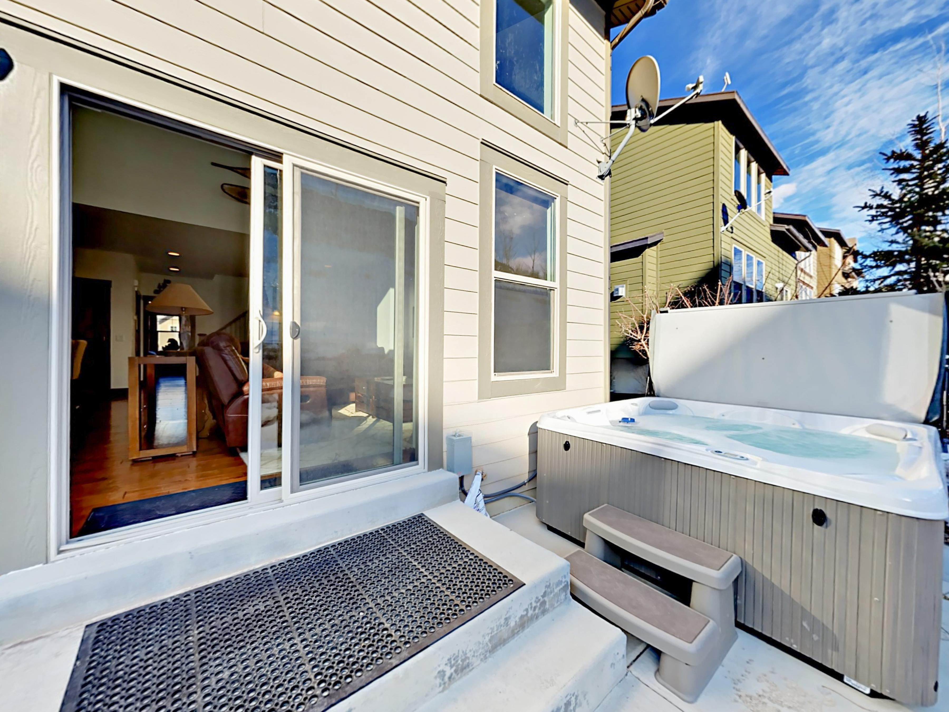 Your rental includes a private 6-person hot tub as well as access to a community pool (open in the summer).