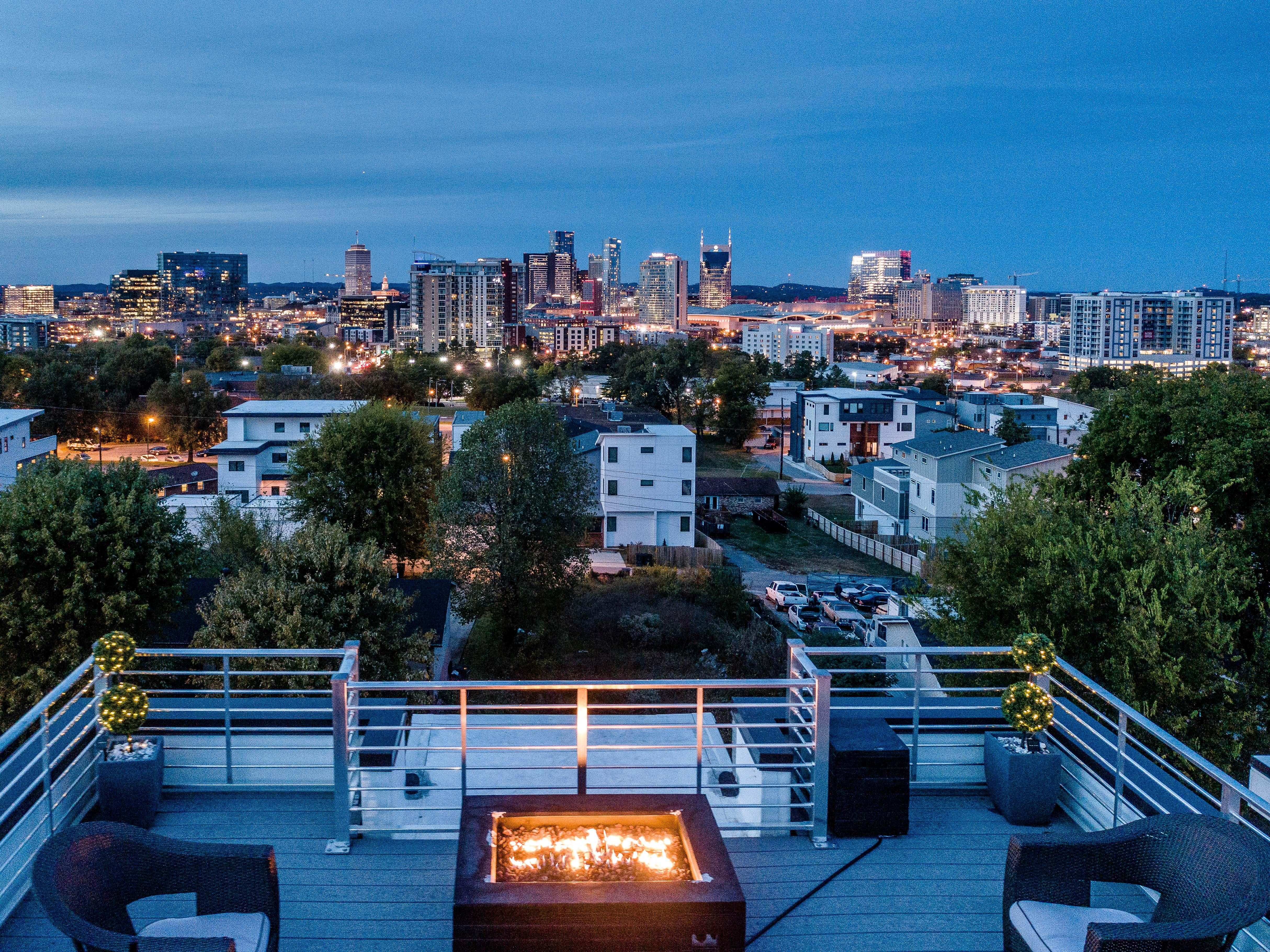 Take in unparalleled views of Music City from the sprawling rooftop deck.