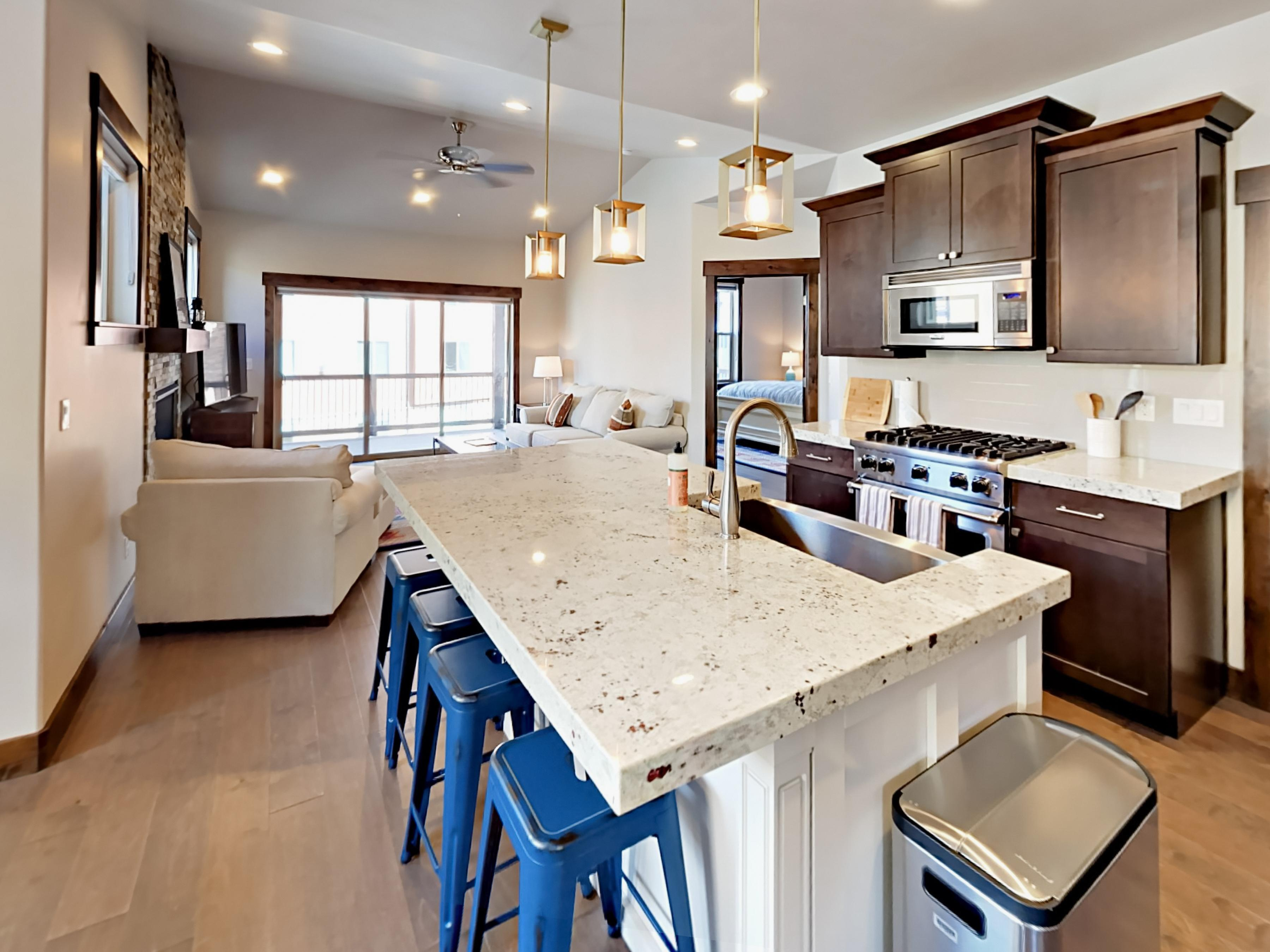 Enjoy preparing your meals around this high-end kitchen with stainless steel Viking appliances. A starter supply of dish soap and paper towels is provided.