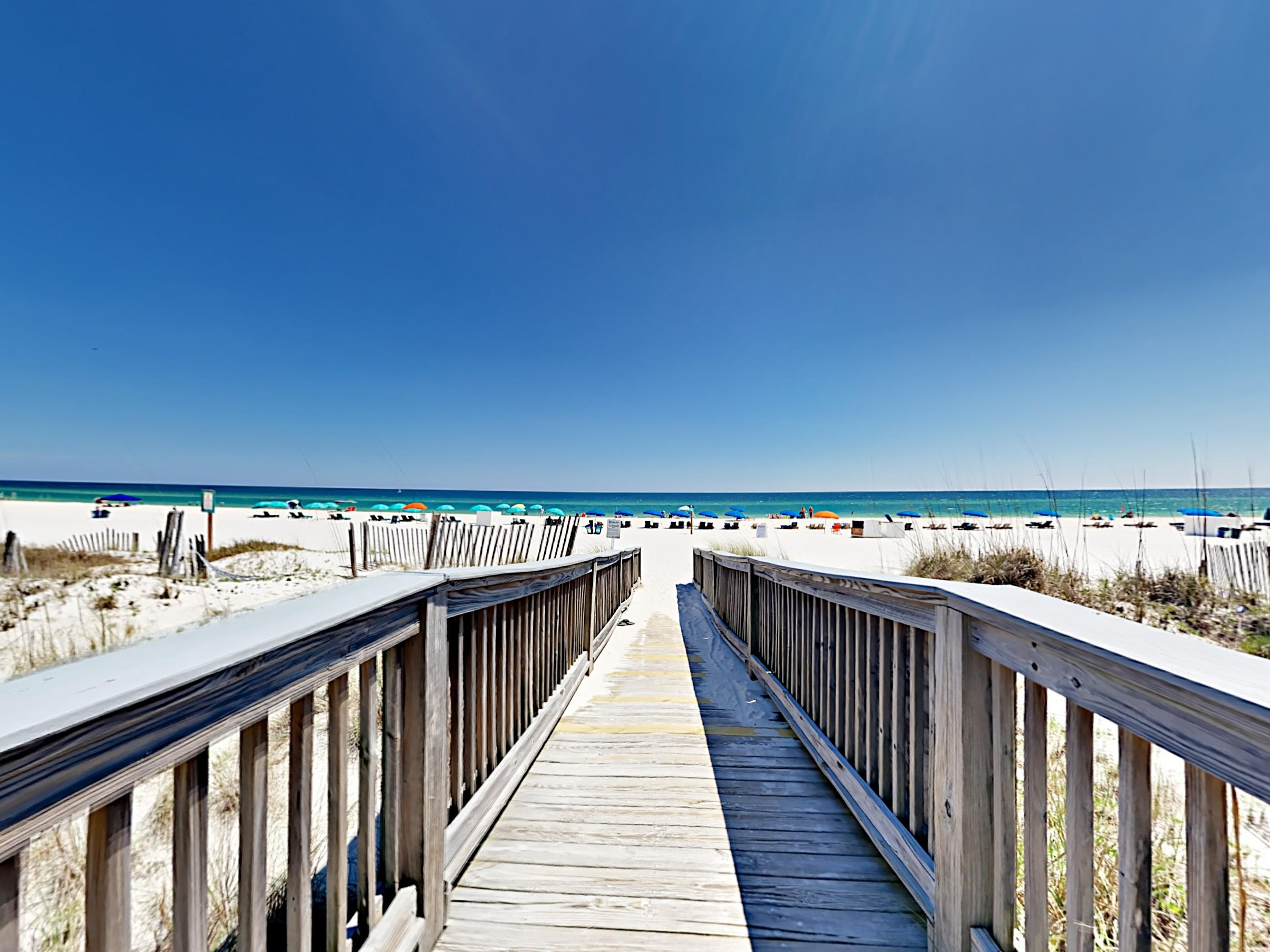 Follow the boardwalk to the beach and spend sunny days splashing in the Gulf waters.