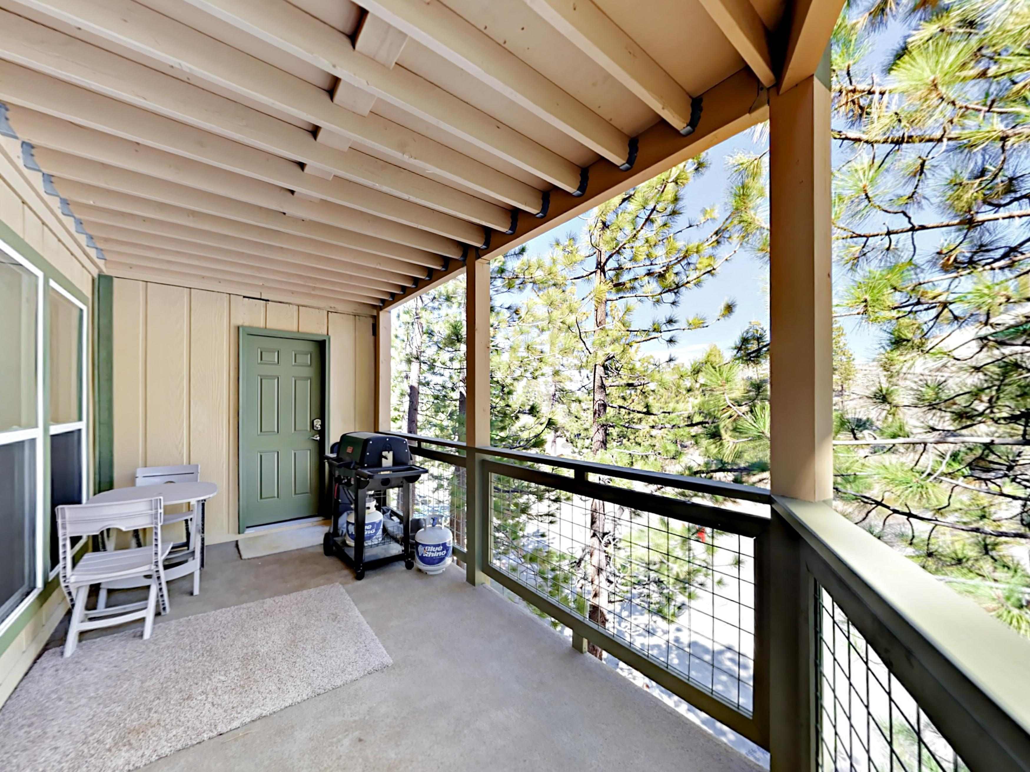Take in views of tall pines bordering the property.