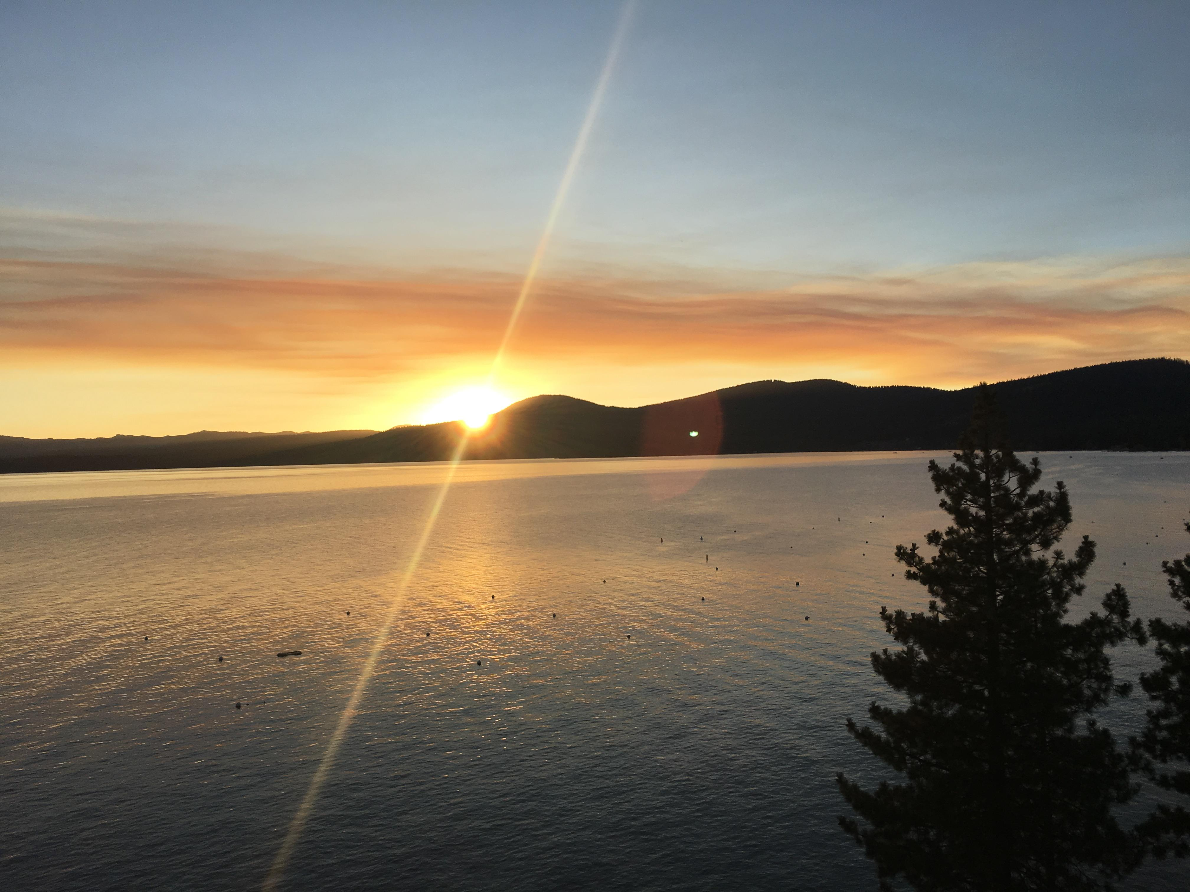 Enjoy stunning sunset views over Lake Tahoe.