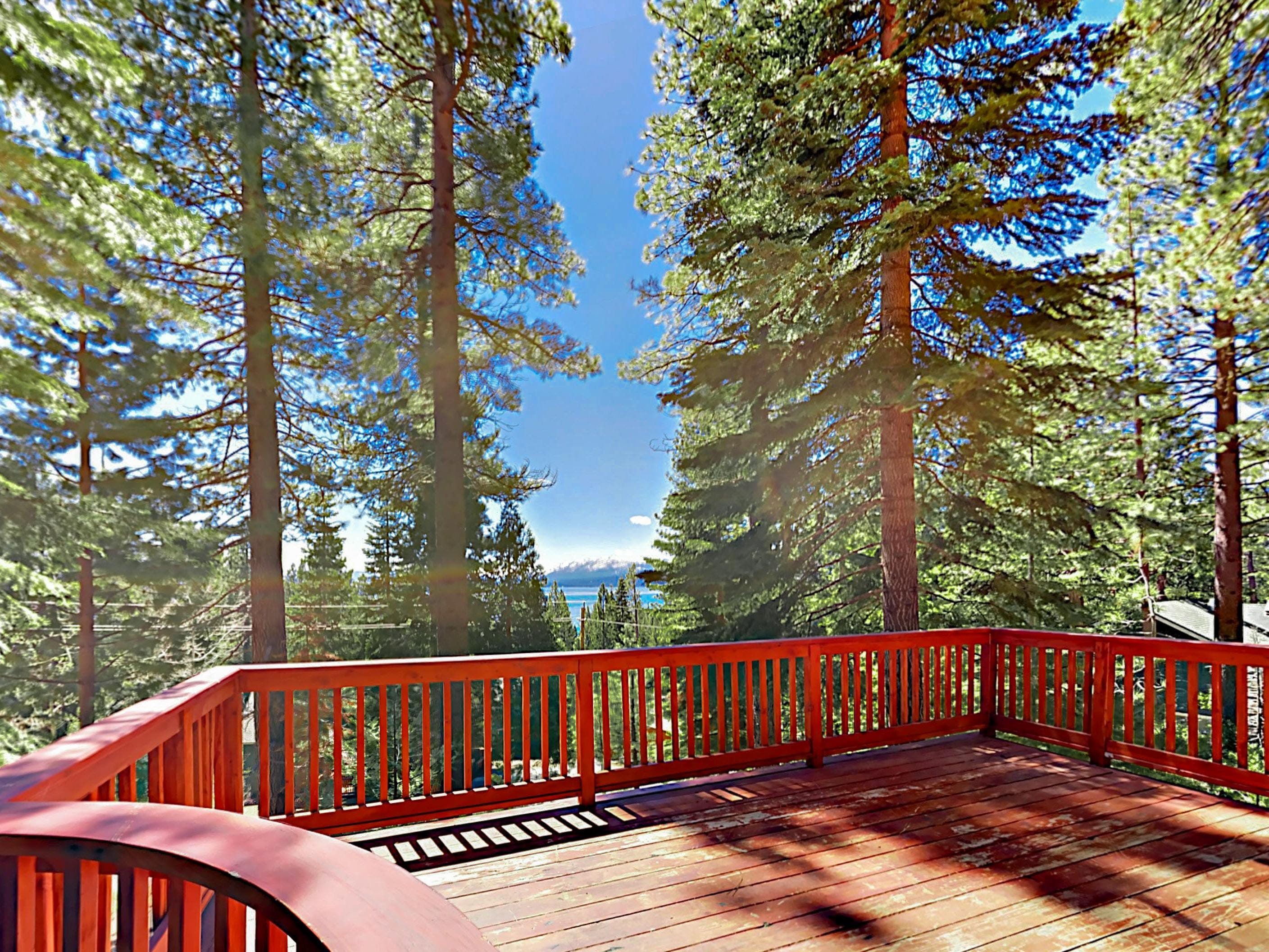 Enjoy views of Lake Tahoe from a large private deck.