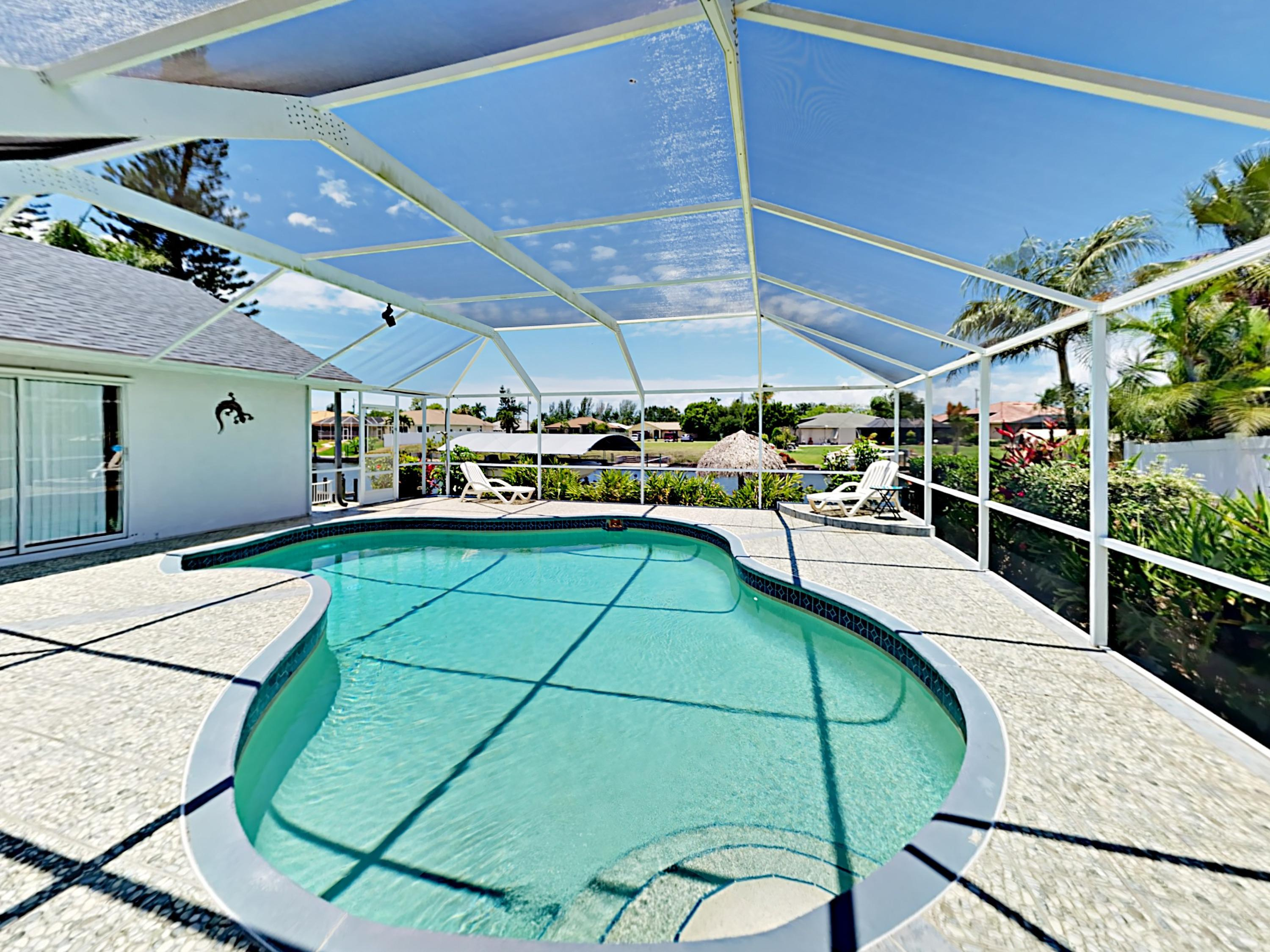 Enjoy a dip in the gorgeous screened-in pool at this property, professionally managed and maintained by TurnKey Vacation Rentals.