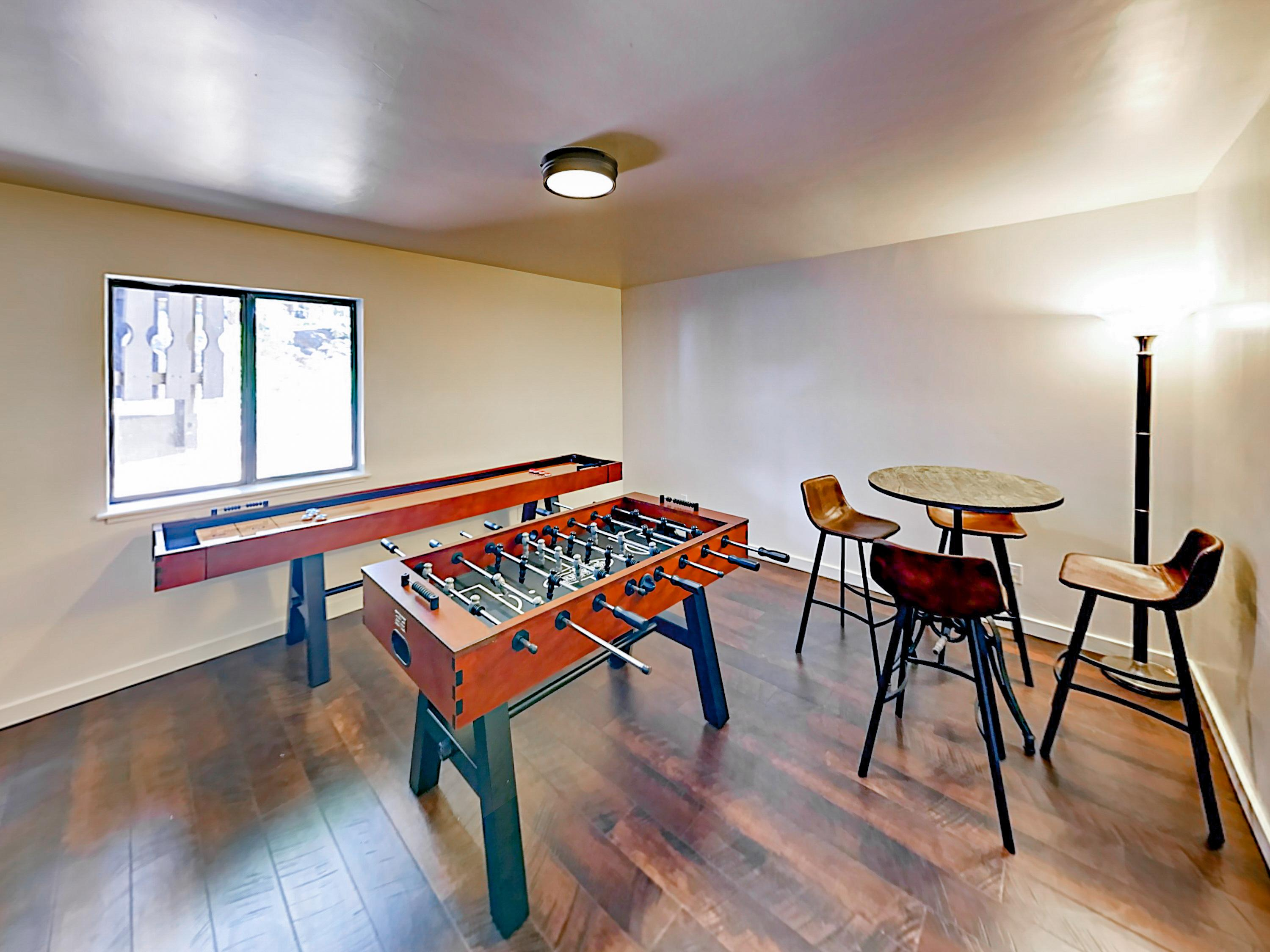 A game room on the lower level offers shuffleboard and foosball.