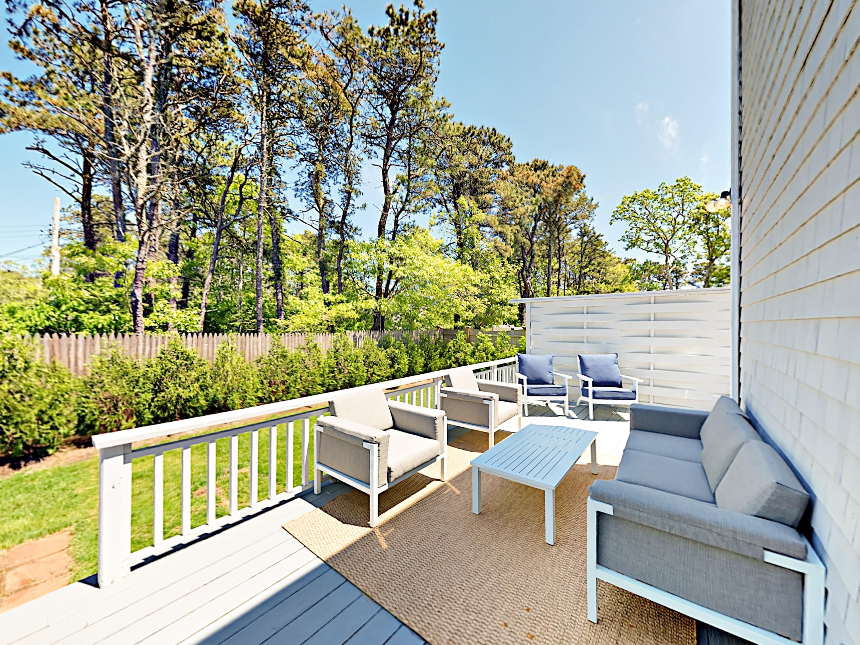 Deck with comfortable seating for 7. This property is professionally maintained and managed by TurnKey Vacation Rentals.