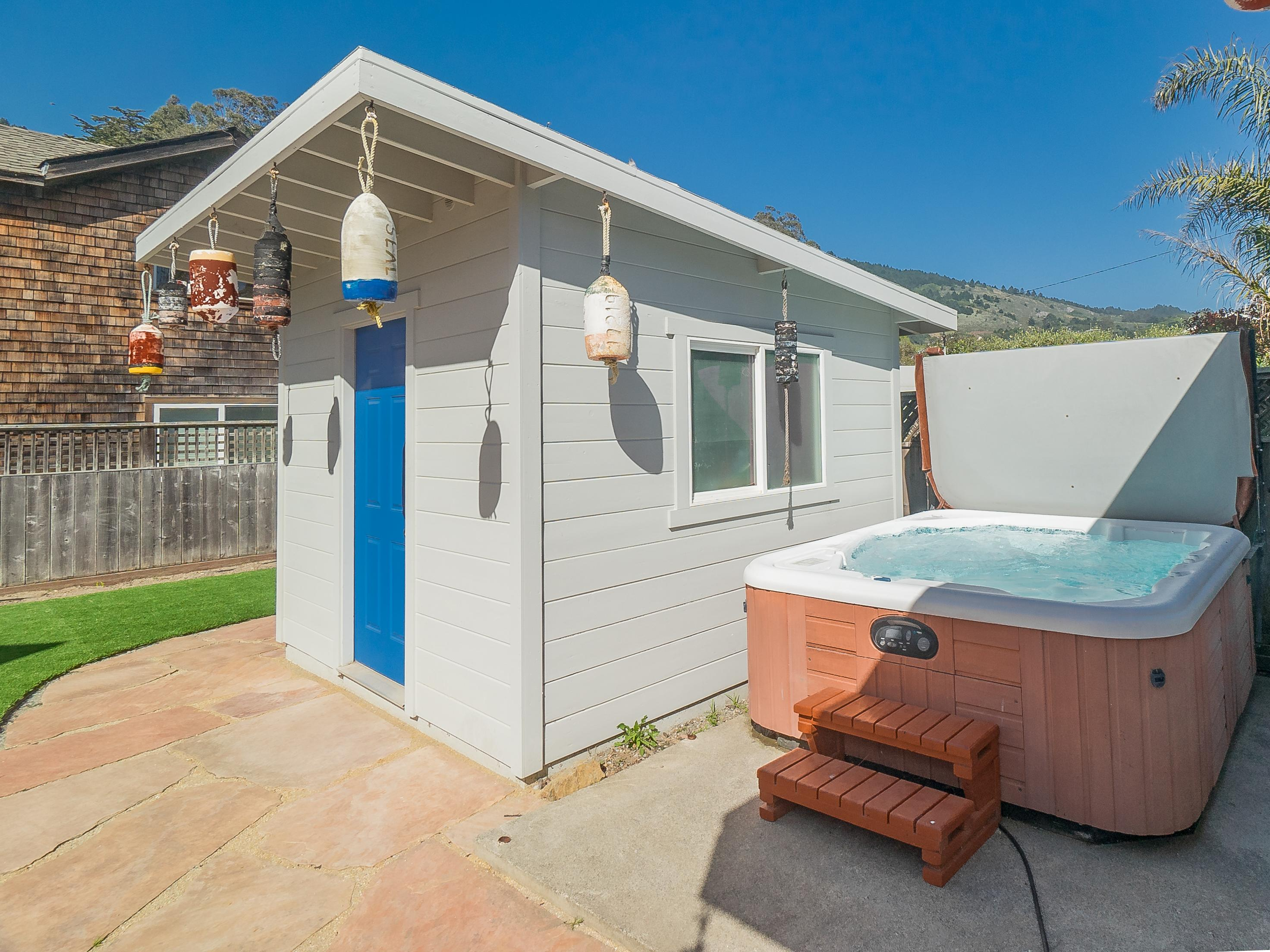 The hot tub is shared between the 3 units on the property.