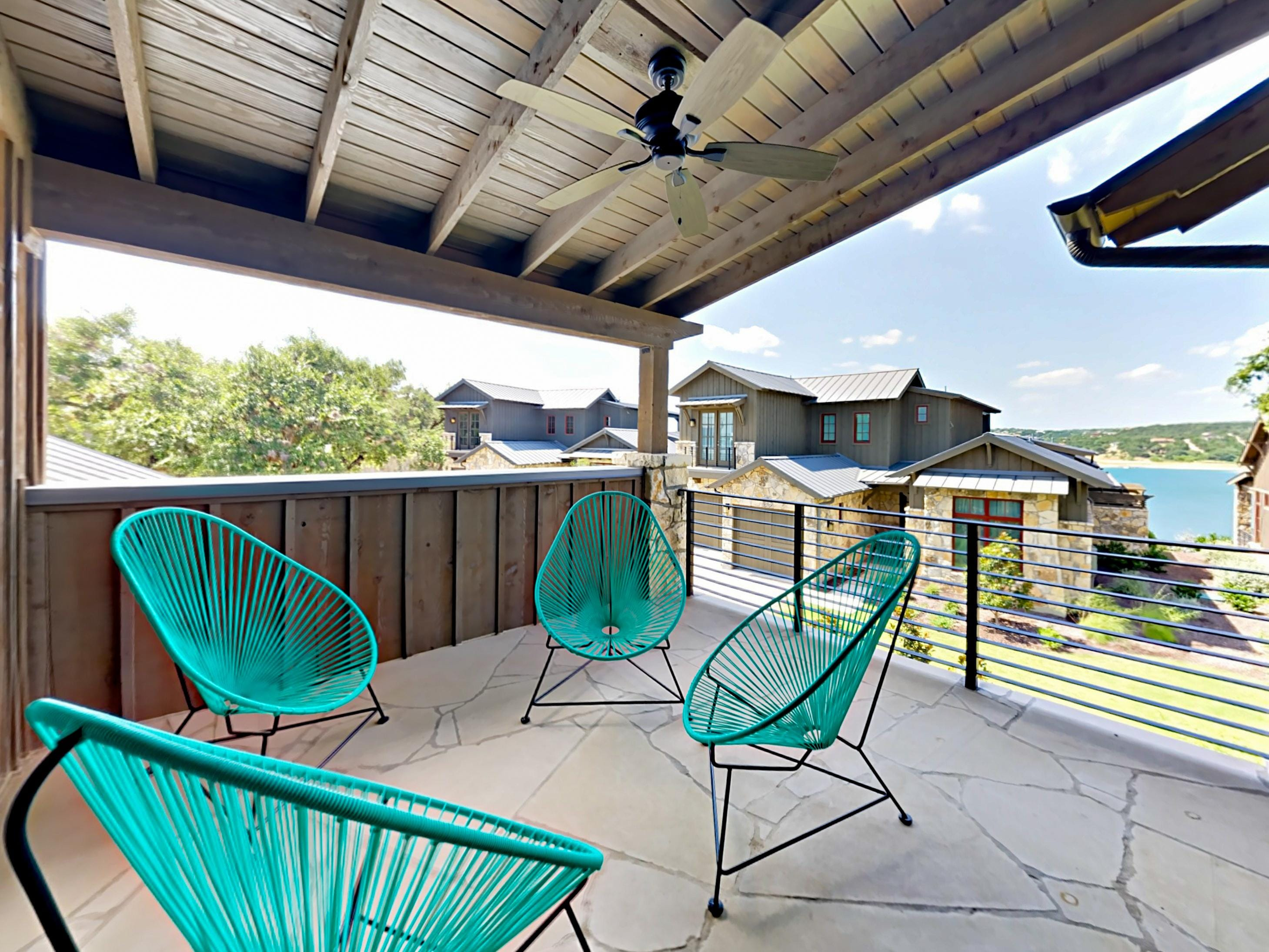 Take in views of Lake Travis from the 2nd-level covered balcony.