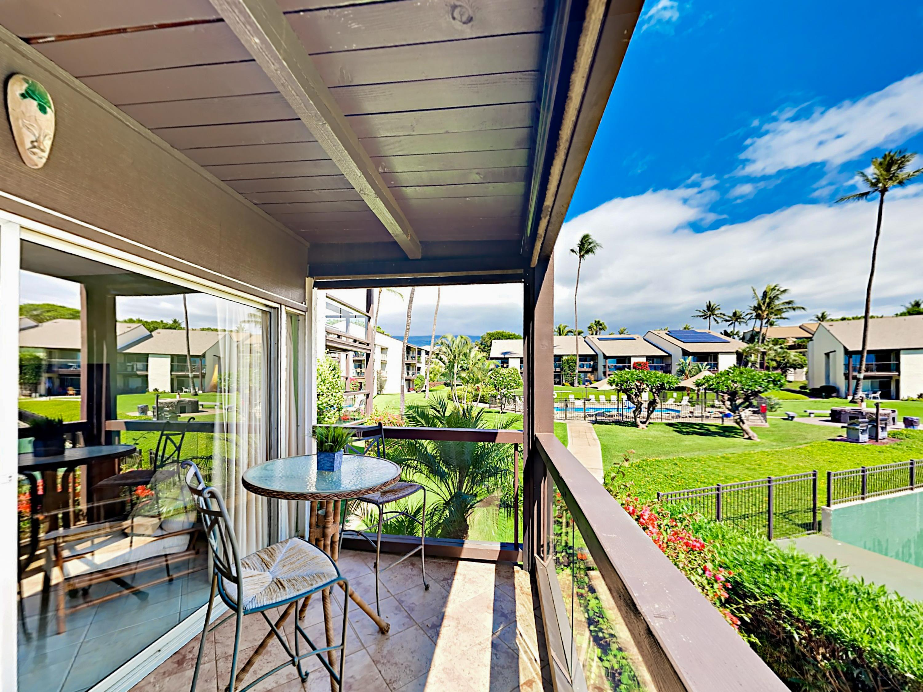 Welcome to Kihei! Overlooking the tennis courts, the covered balcony offers a great spot to sip morning coffee.
