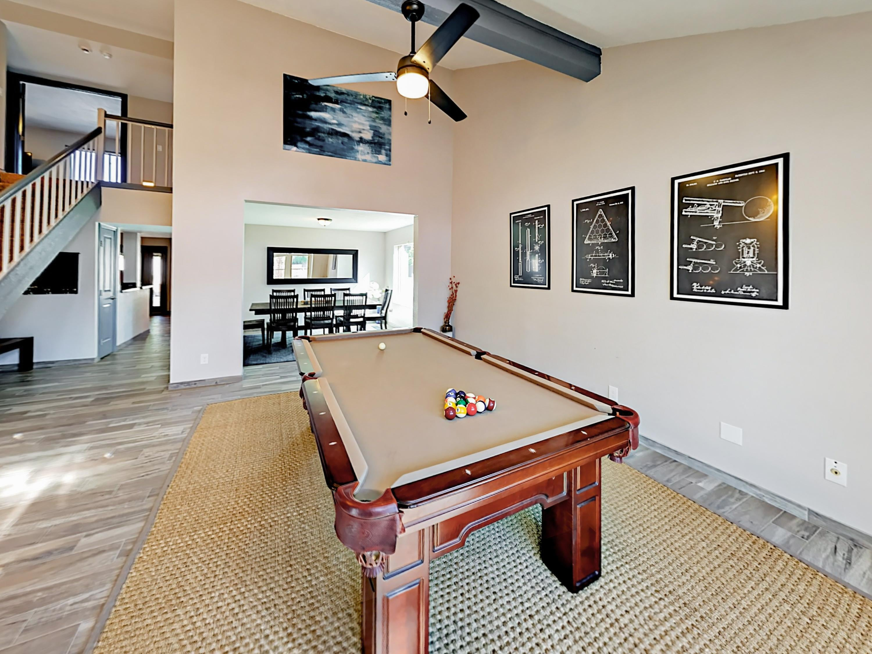 Enjoy a game room with a pool table.