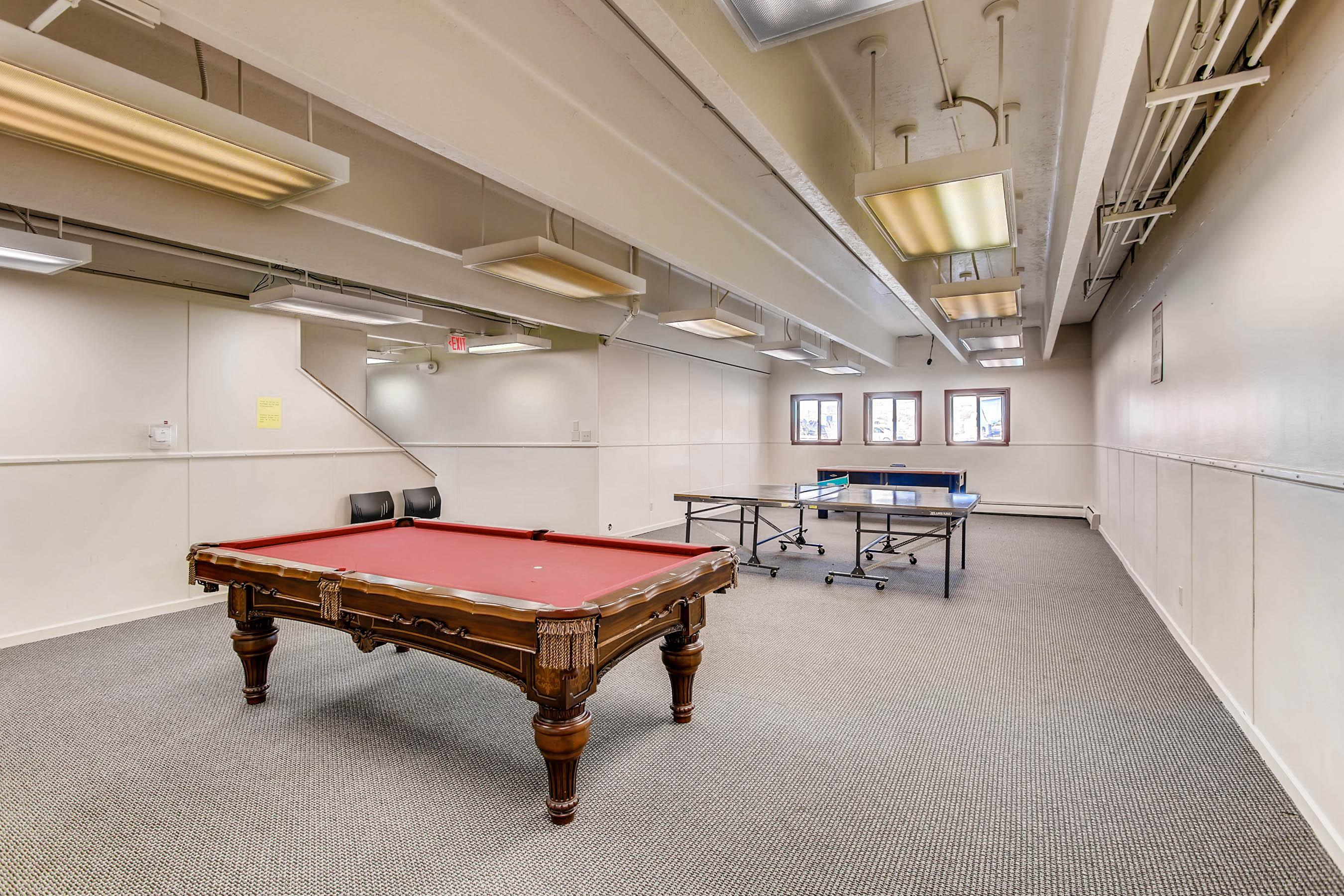 Play a round of pool, ping pong, or air hockey in the complex game room.