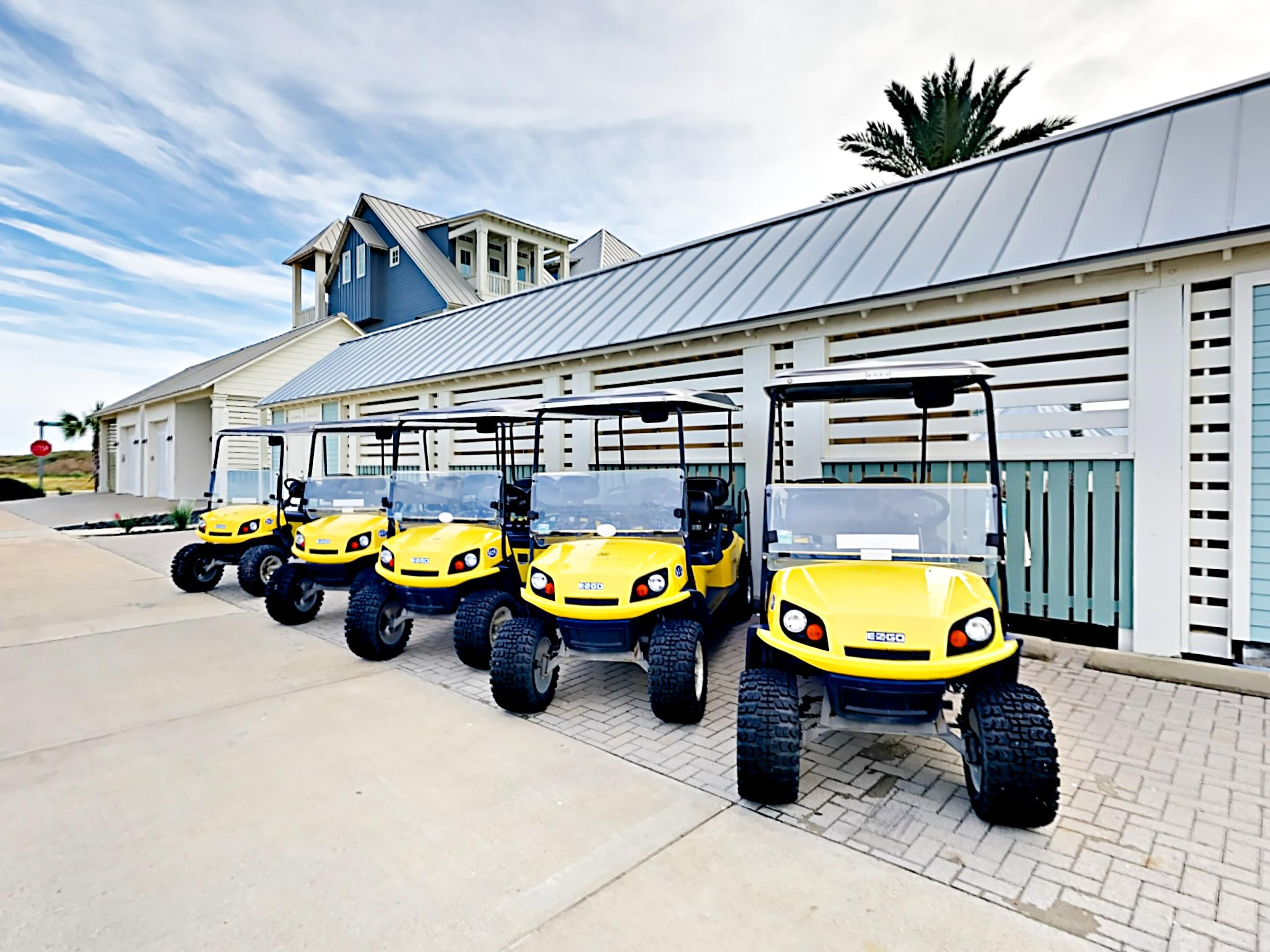Rental items such as golf carts, bicycles, beach chairs, and umbrellas are available.