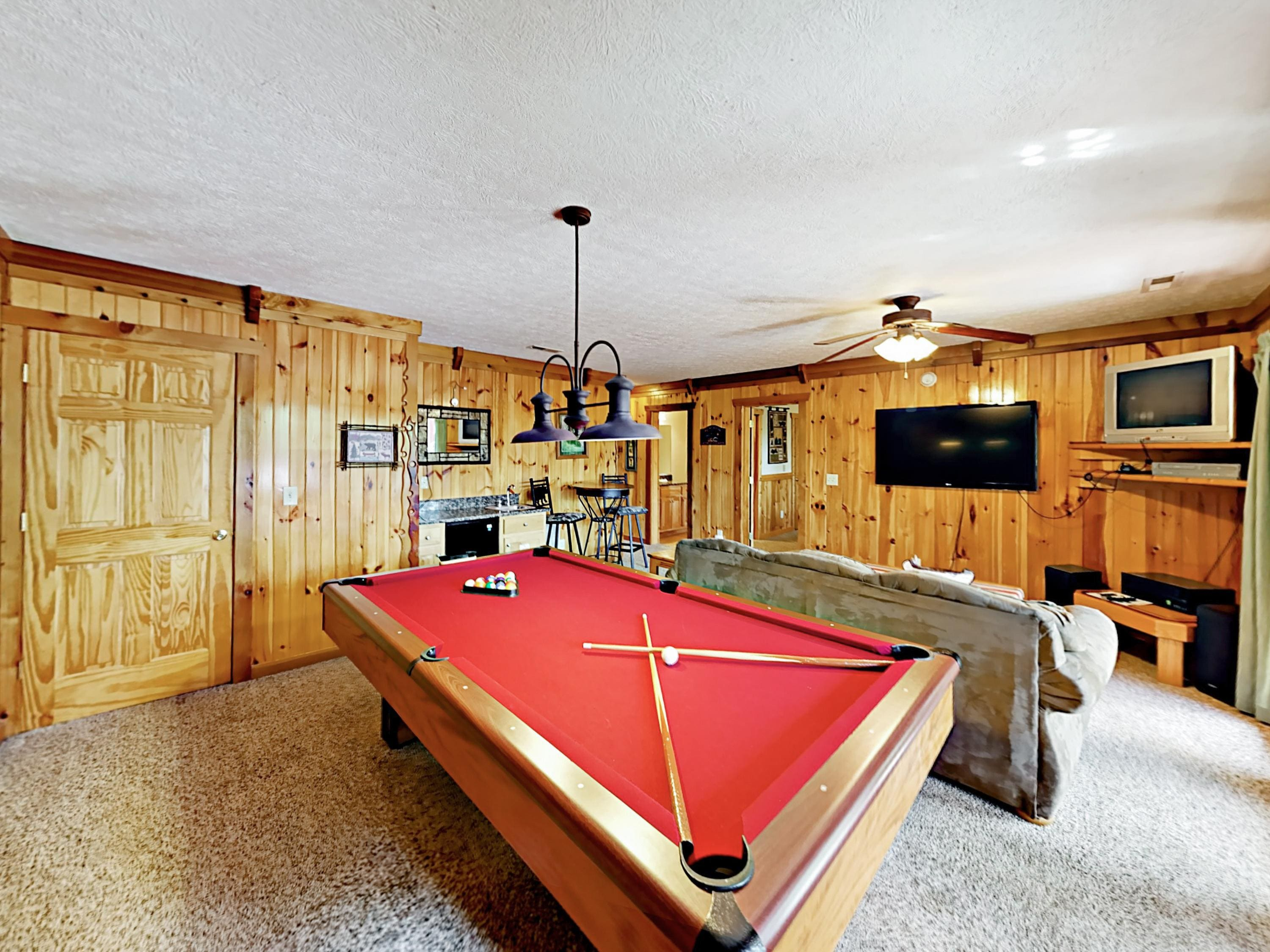 Enjoy the pool table in the 2nd living area located downstairs.