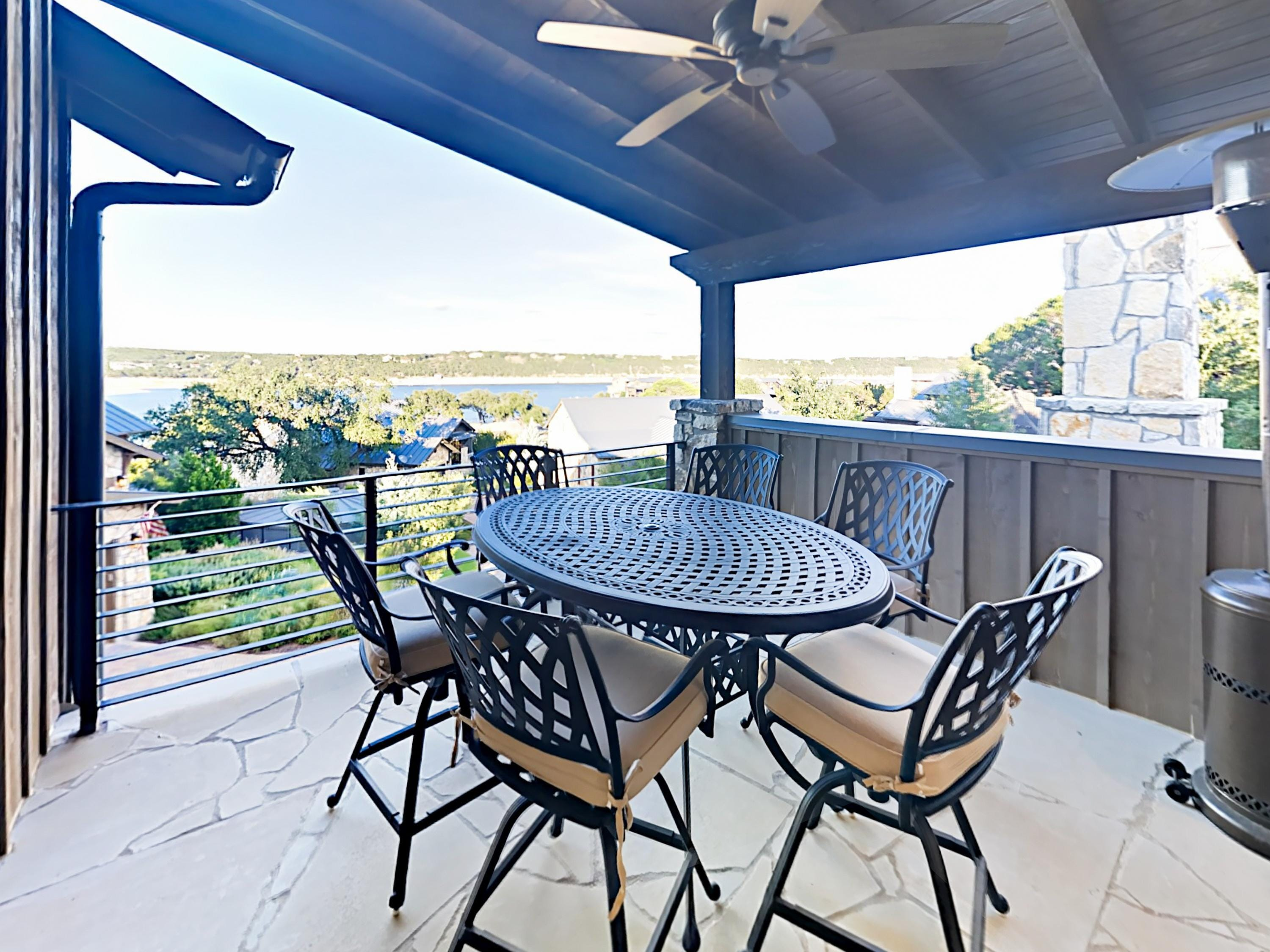 Enjoy a cold drink amid lake views on the covered 2nd-floor balcony.