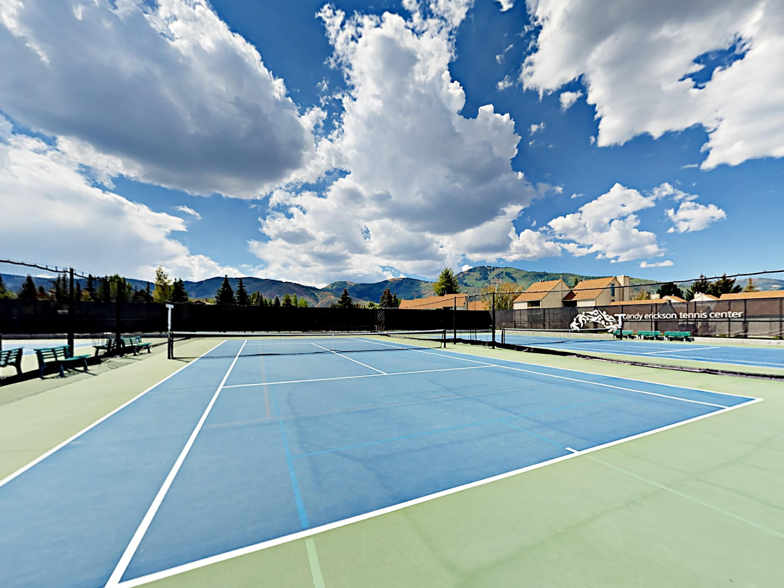 Play a friendly round of tennis at the rec center's courts.