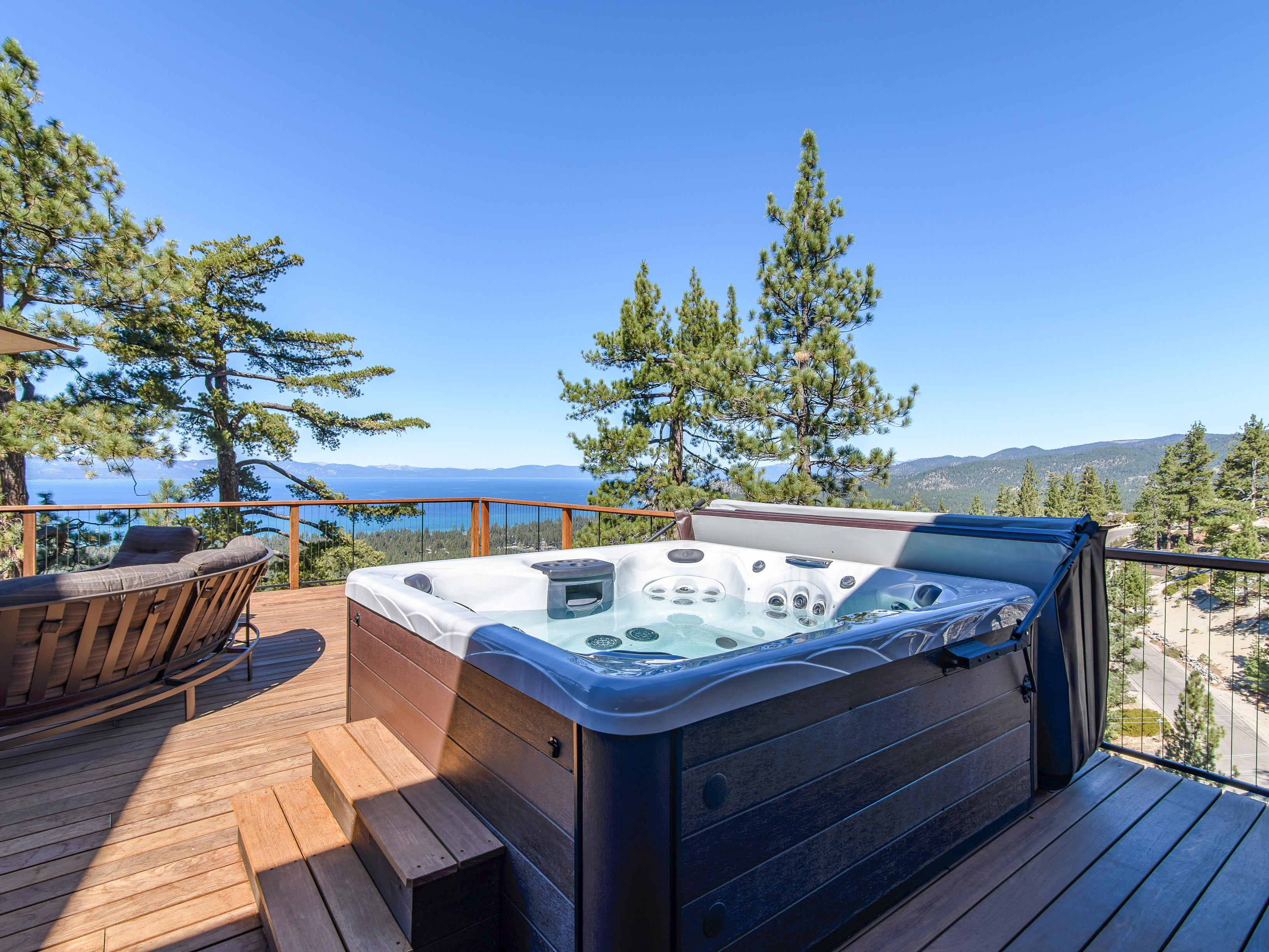 Enjoy a starlit soak in the open-air hot tub.
