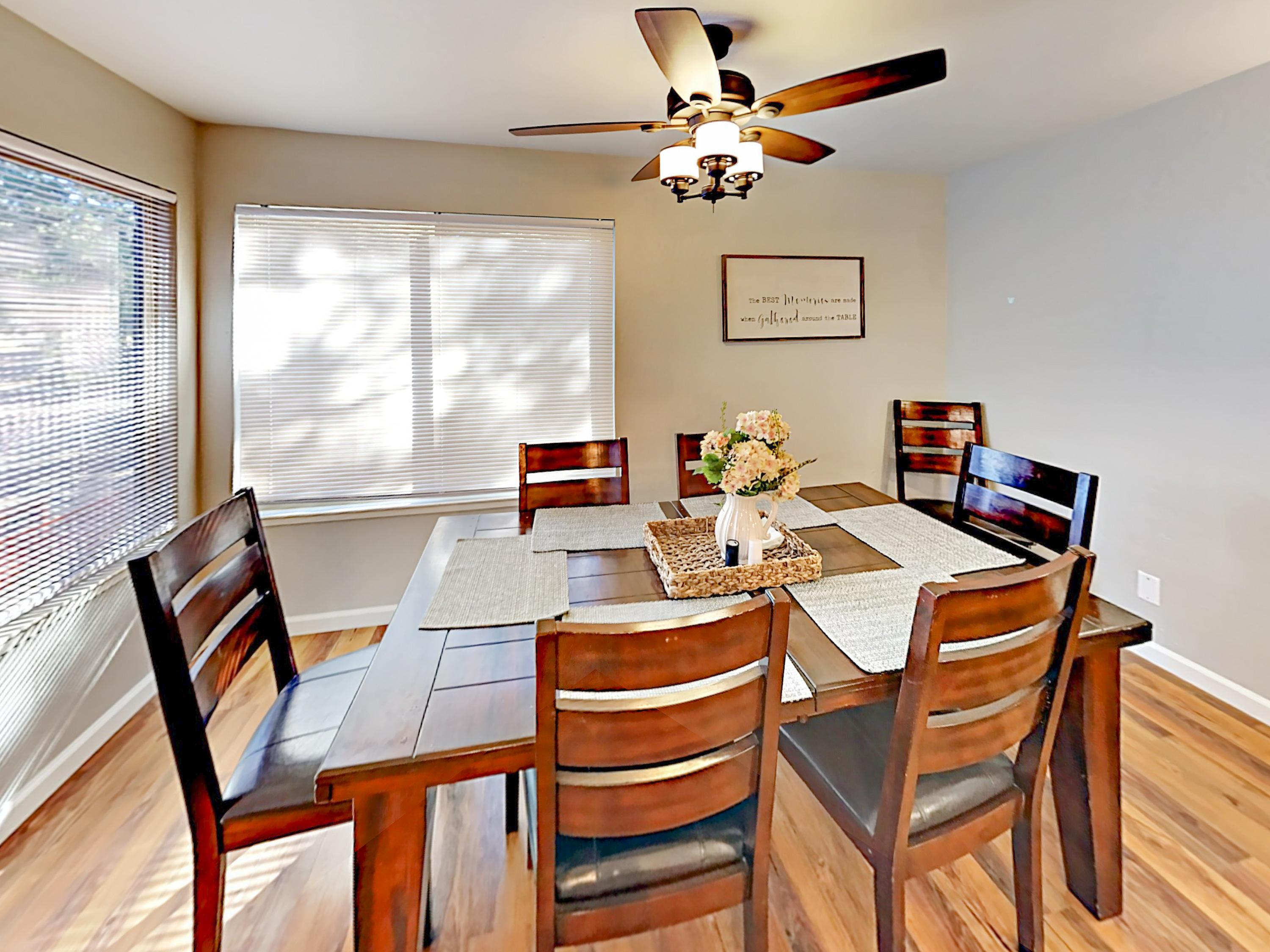 Serve home-cooked meals at the dining table with seating for 6.