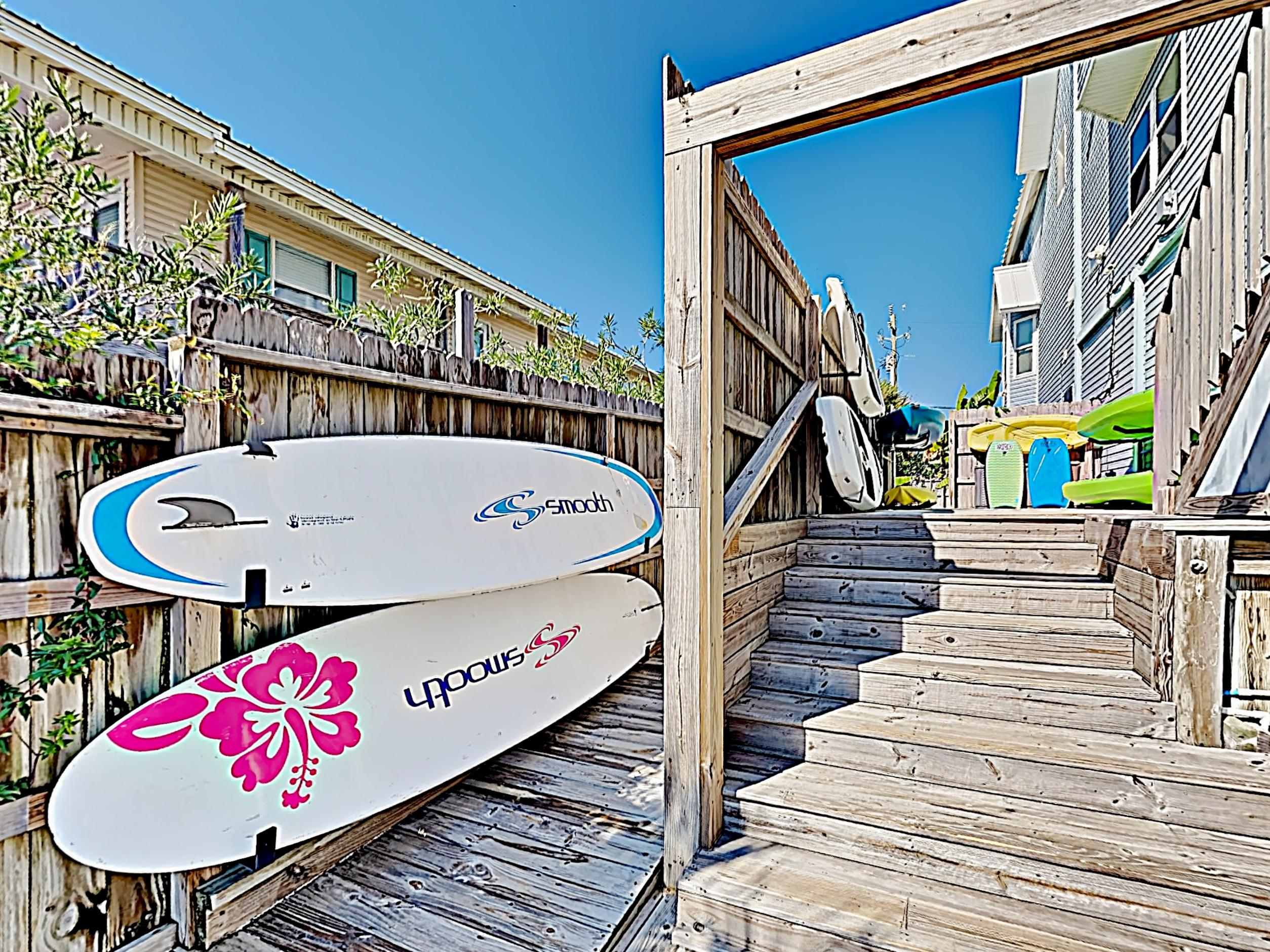 Water enthusiasts will appreciate a collection of paddle boards available for guest use.