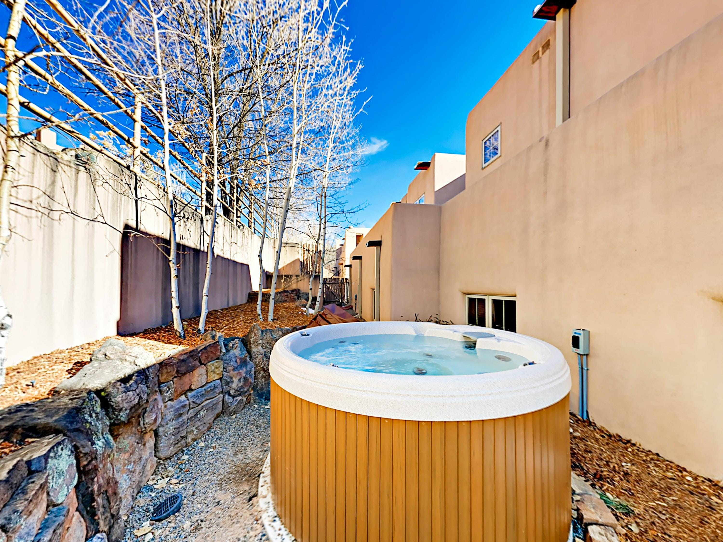 Enjoy a luxuriating soak in the hot tub.