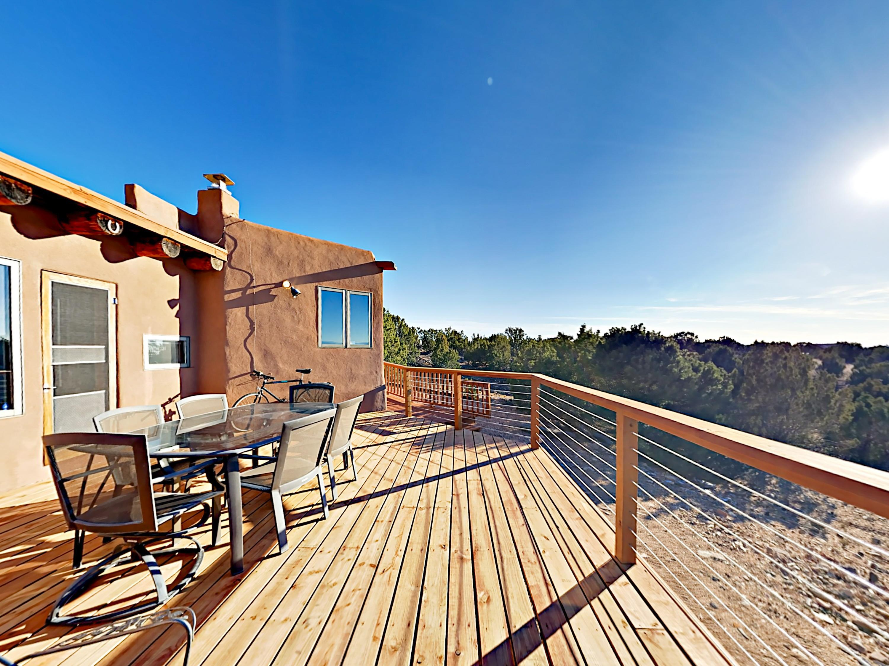 Your rental includes a large, west-facing deck.