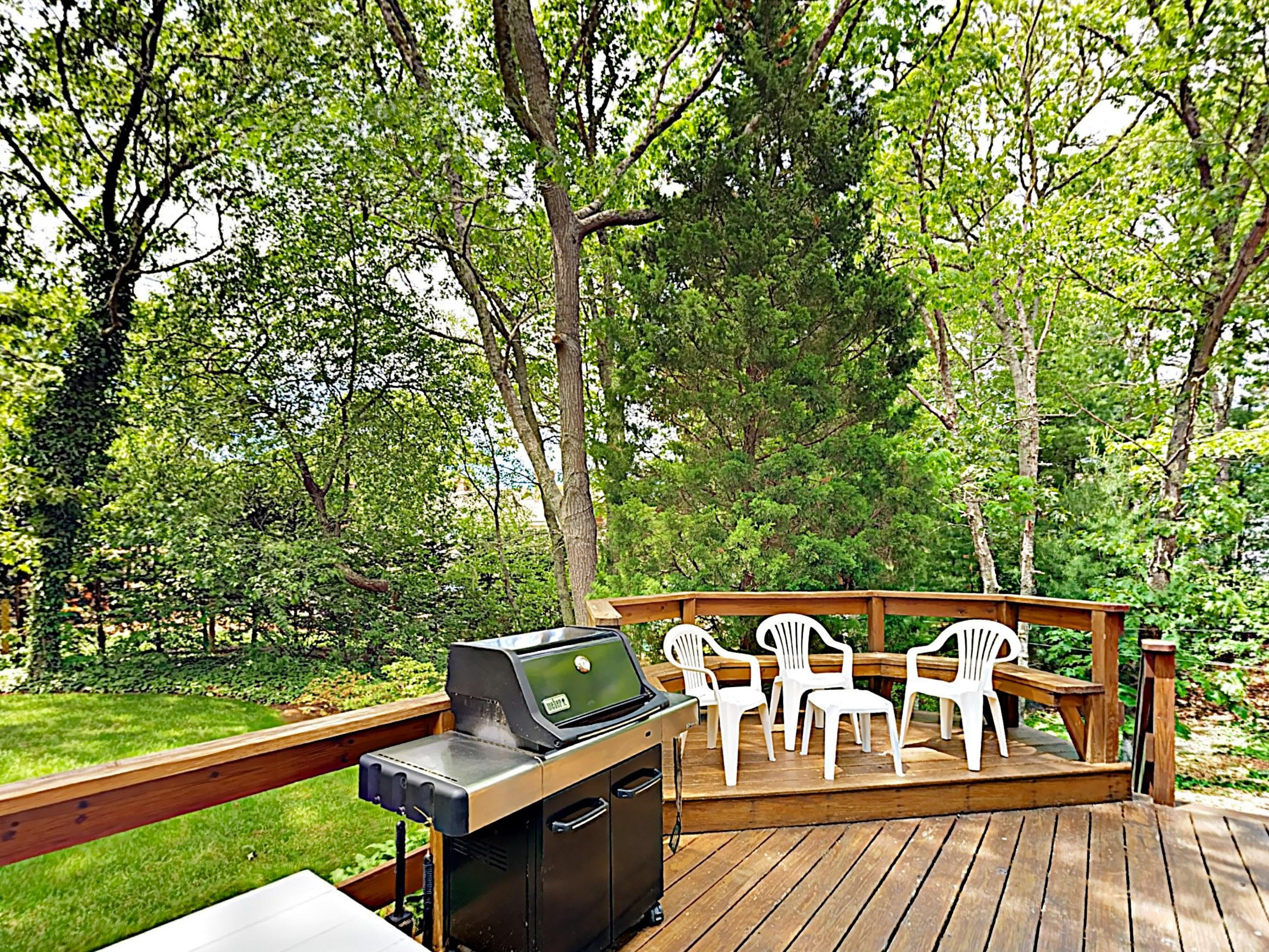 Out on the deck you'll find a picnic table, gas grill, and 8 chairs -- perfect for alfresco dining.