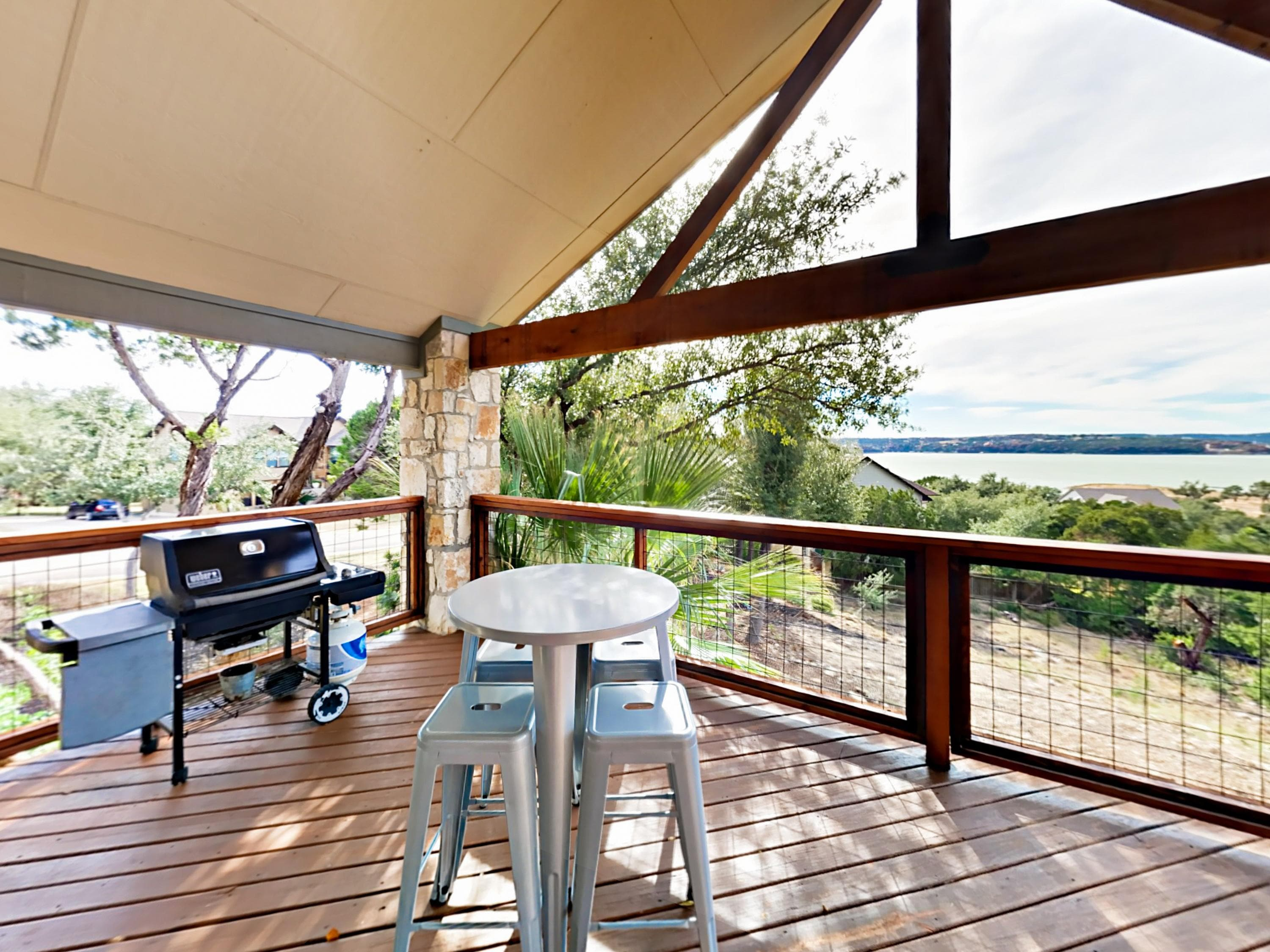 Take your pick of sun or shade on the partially covered deck.