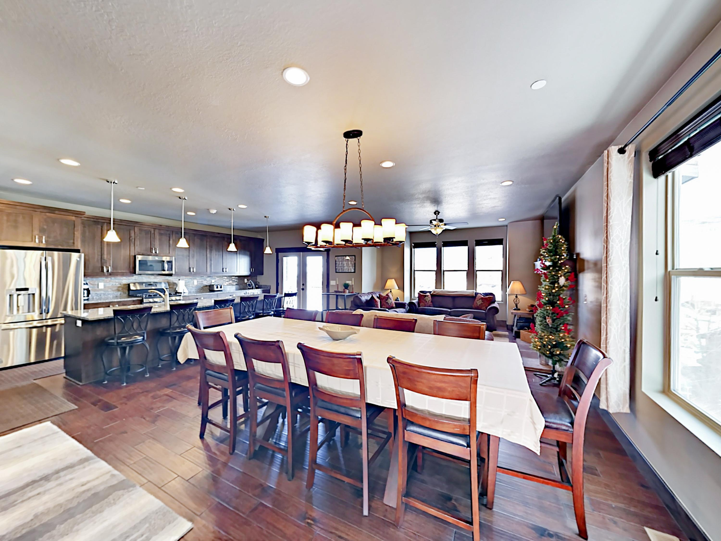 The impressive dining area seats 10 to family-style feasts.
