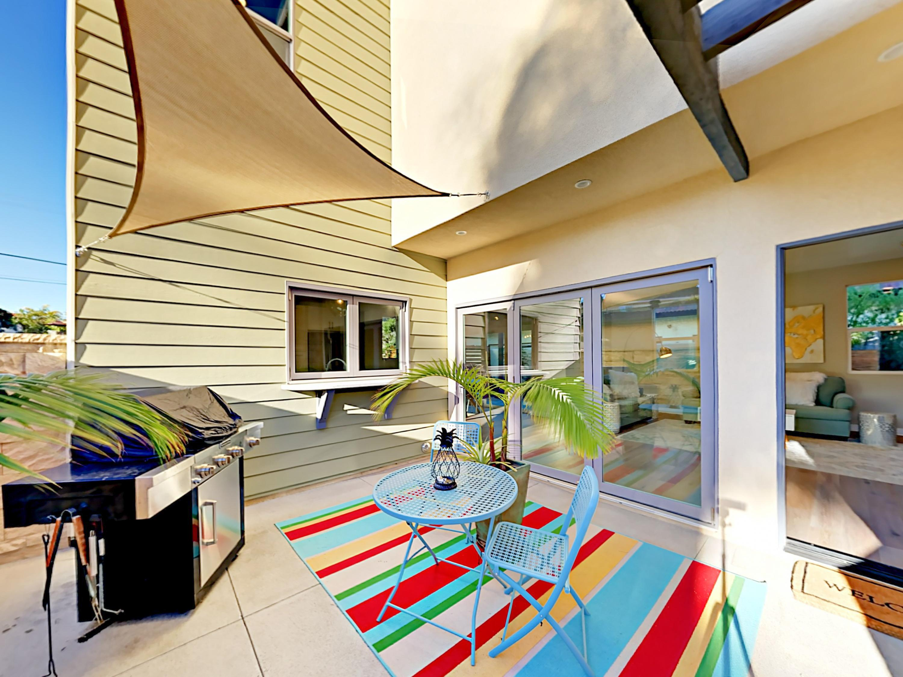 Welcome to Carlsbad! A 2nd patio is furnished with a gas grill and a 2-person bistro table.