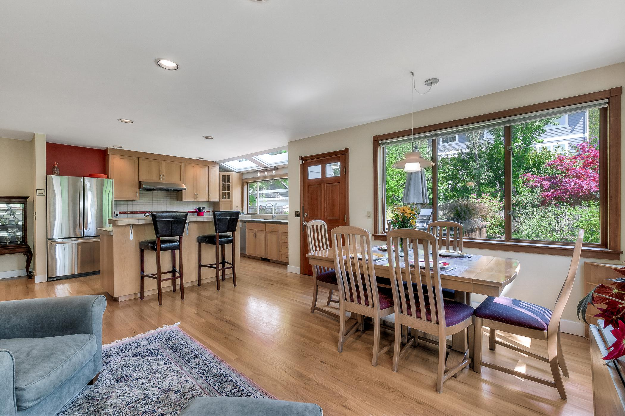 The open dining and kitchen space offers a great flow for entertaining.