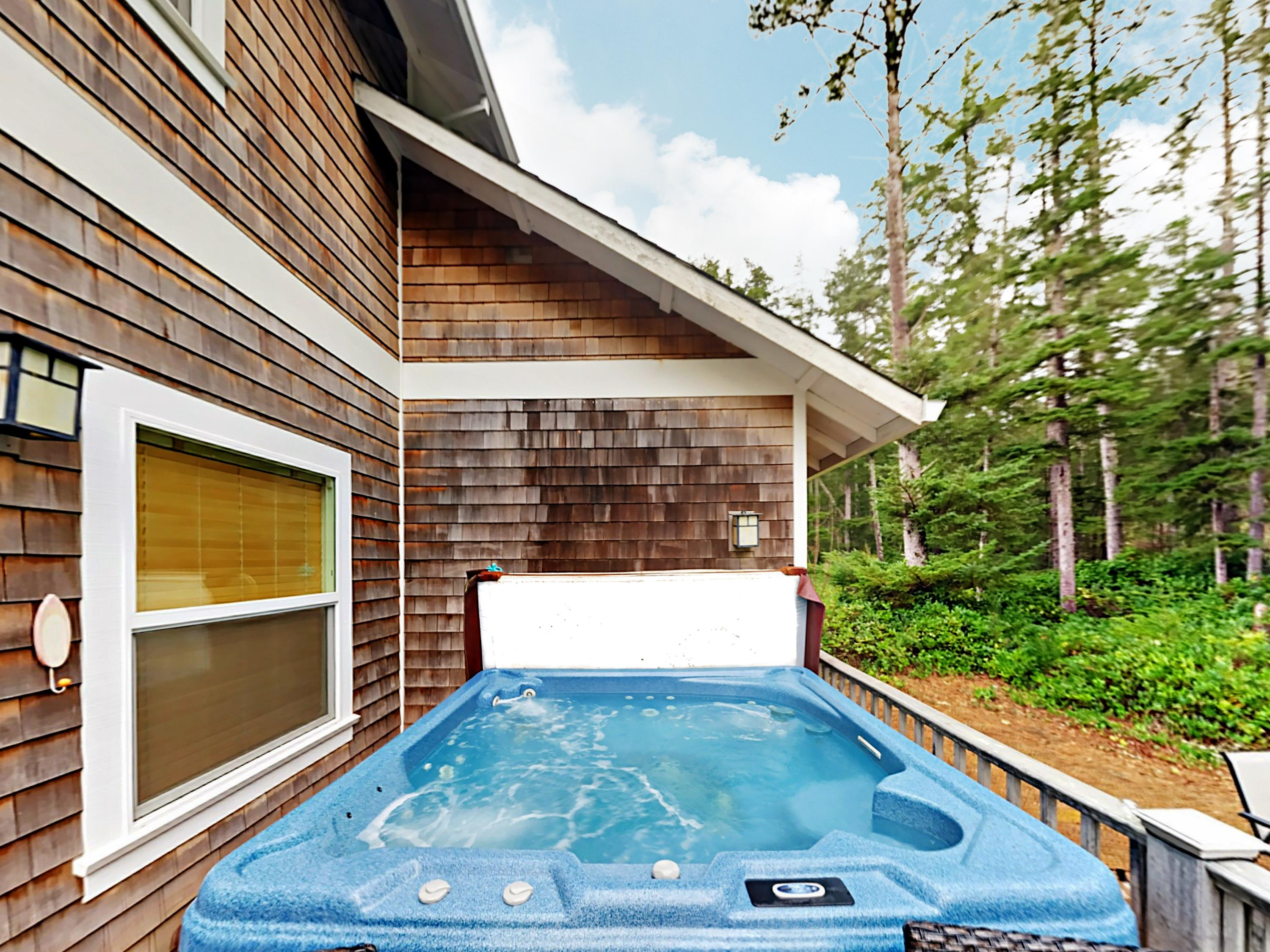 Affectionately known as Nirvana in Nedonna Beach, this beautiful craftsman home boasts a private hot tub.