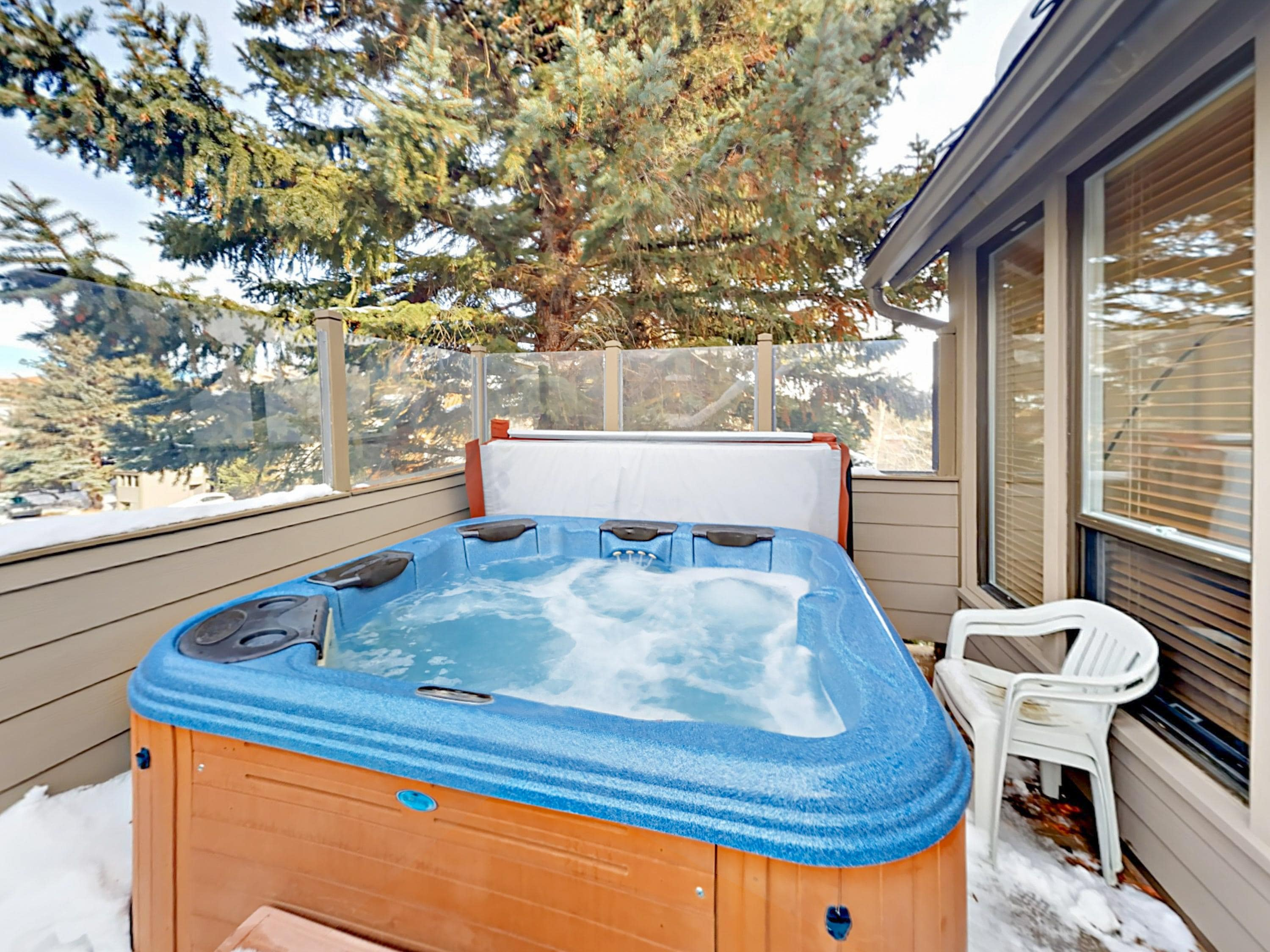 Take an indulgent soak in the private hot tub and enjoy the beautiful mountain vistas.