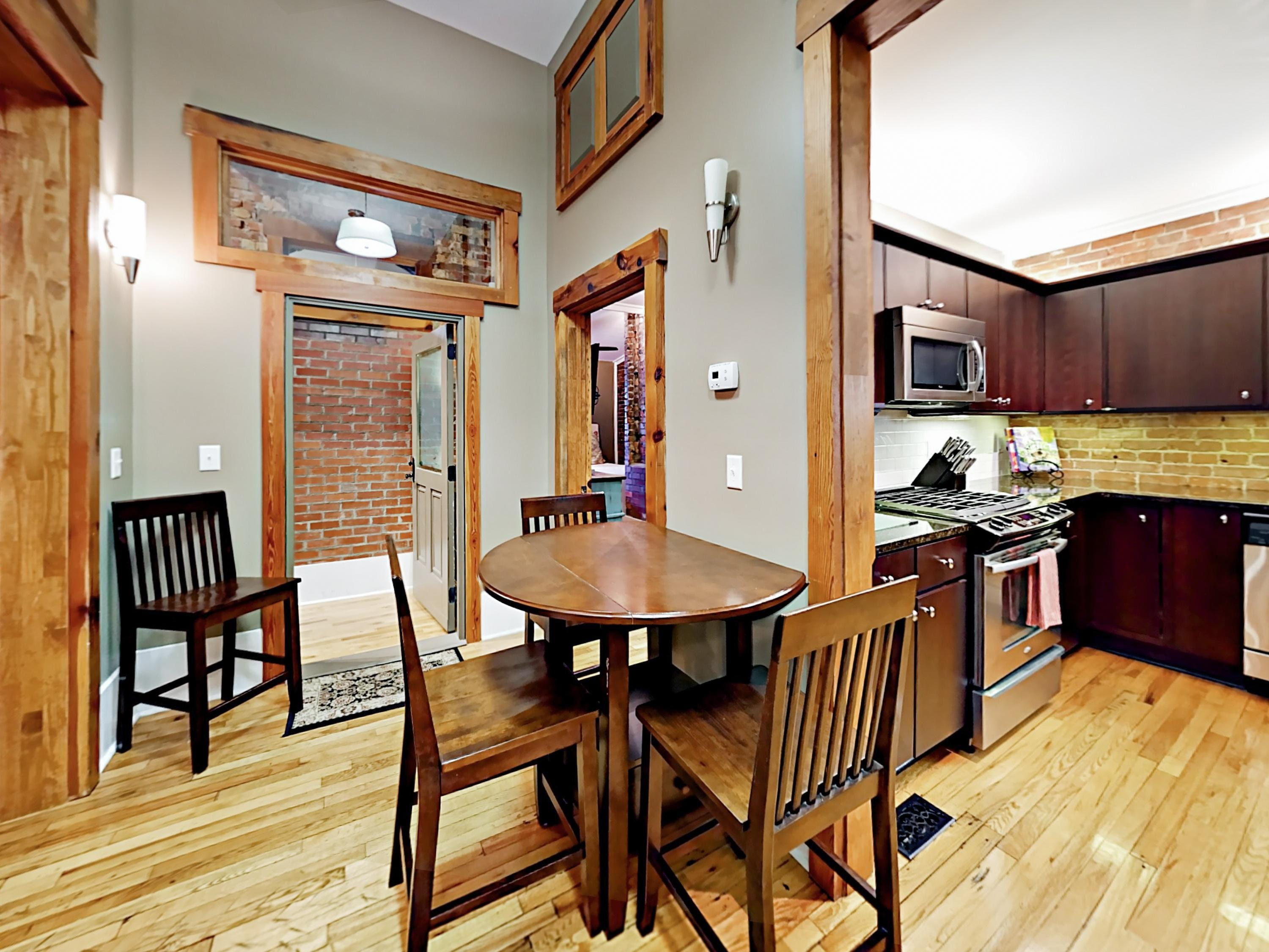 Dine together at the wooden bistro table, just off the kitchen.