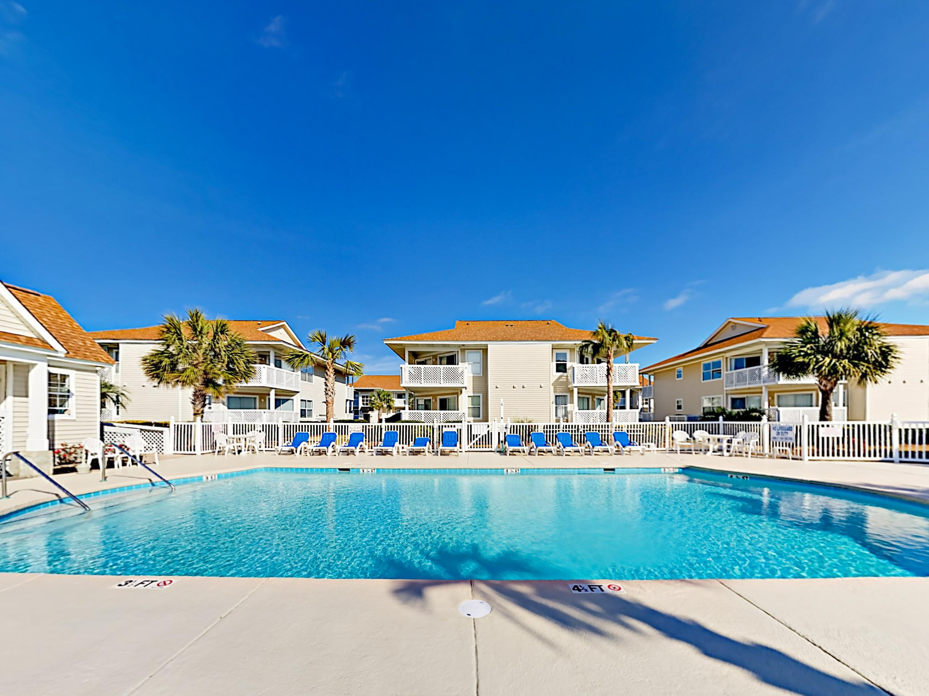Guests have shared access to a huge on-site pool!