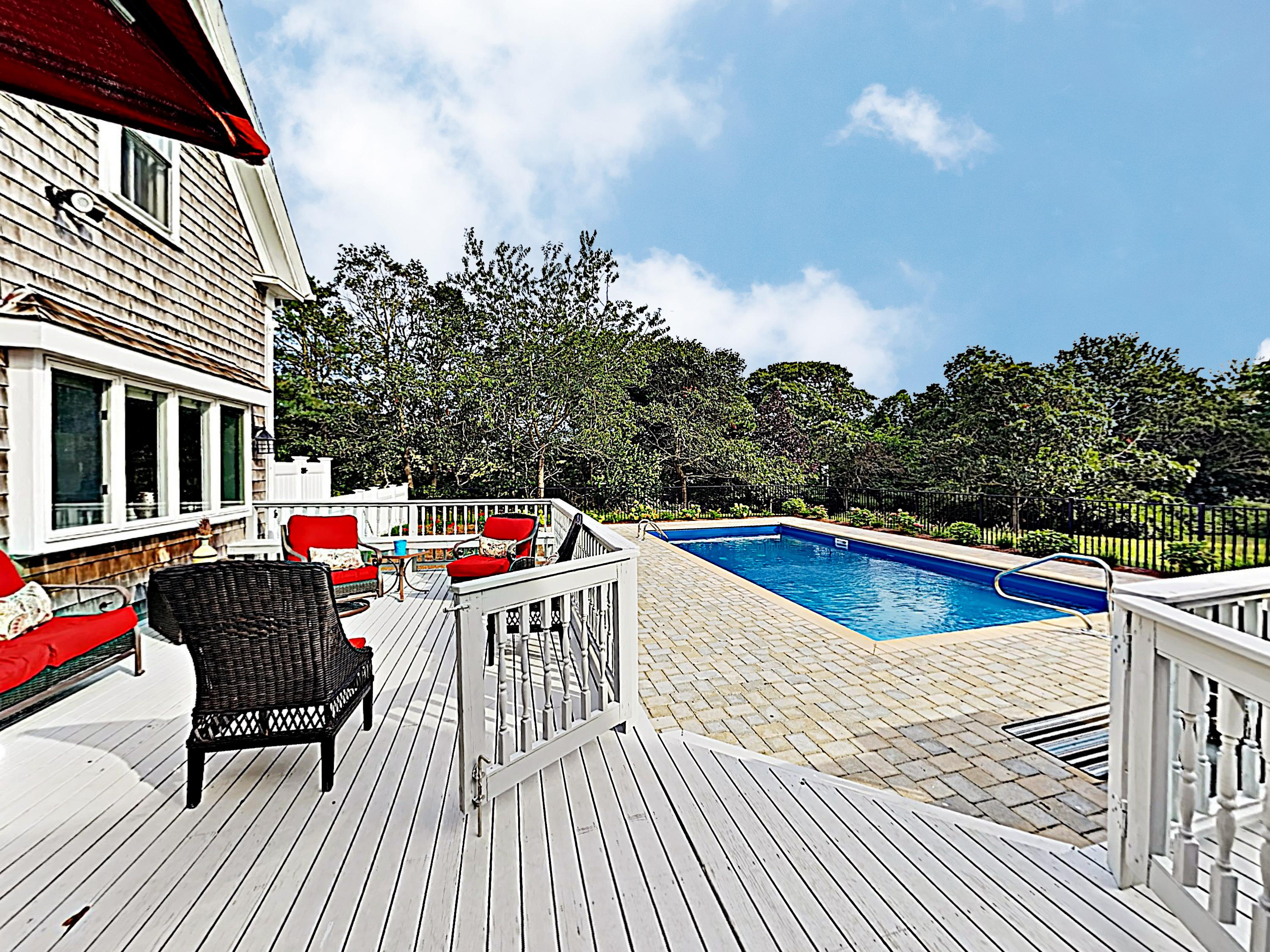 Enjoy a large deck and private pool area.