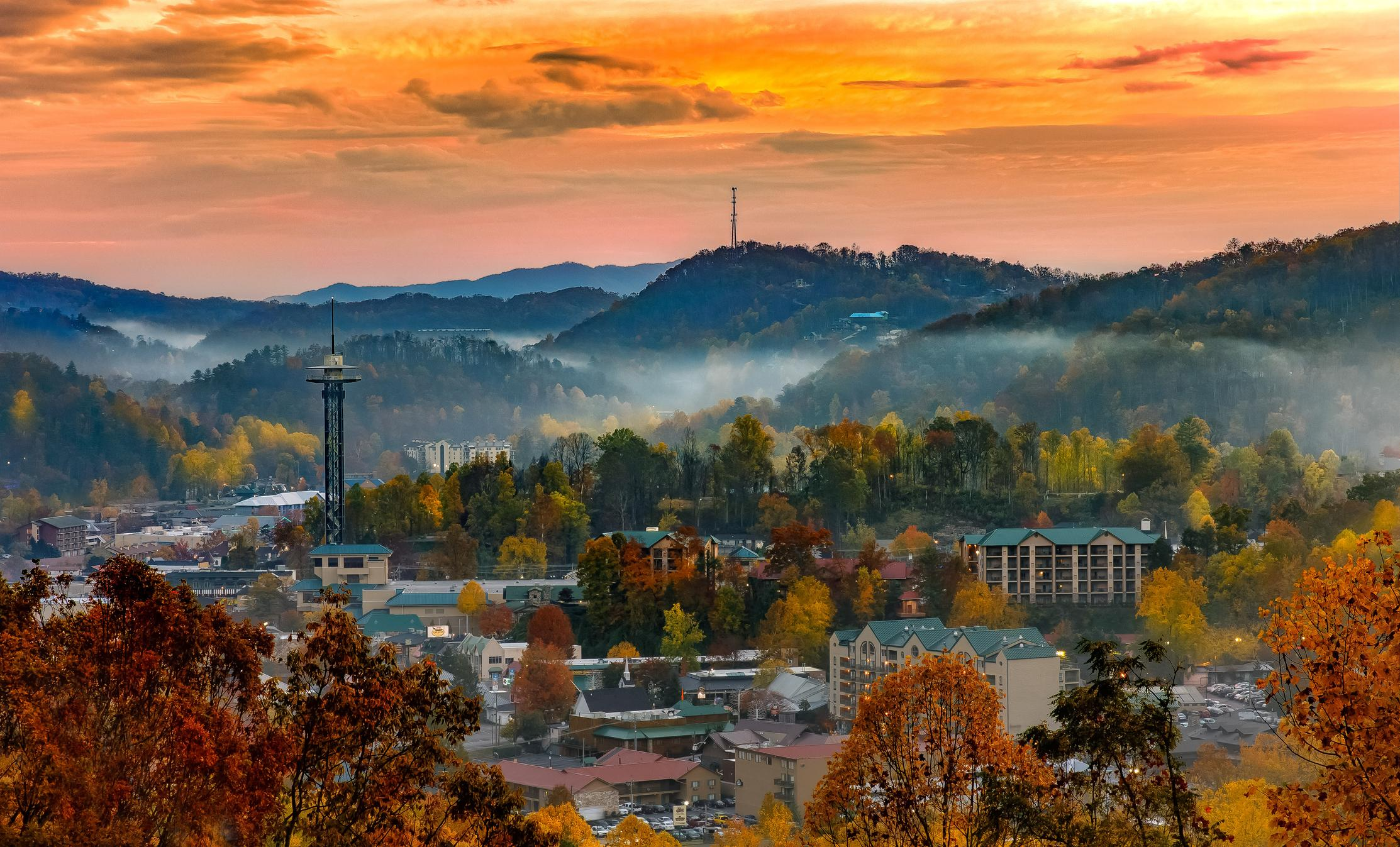 Wake up early and catch a sunrise over Gatlinburg.