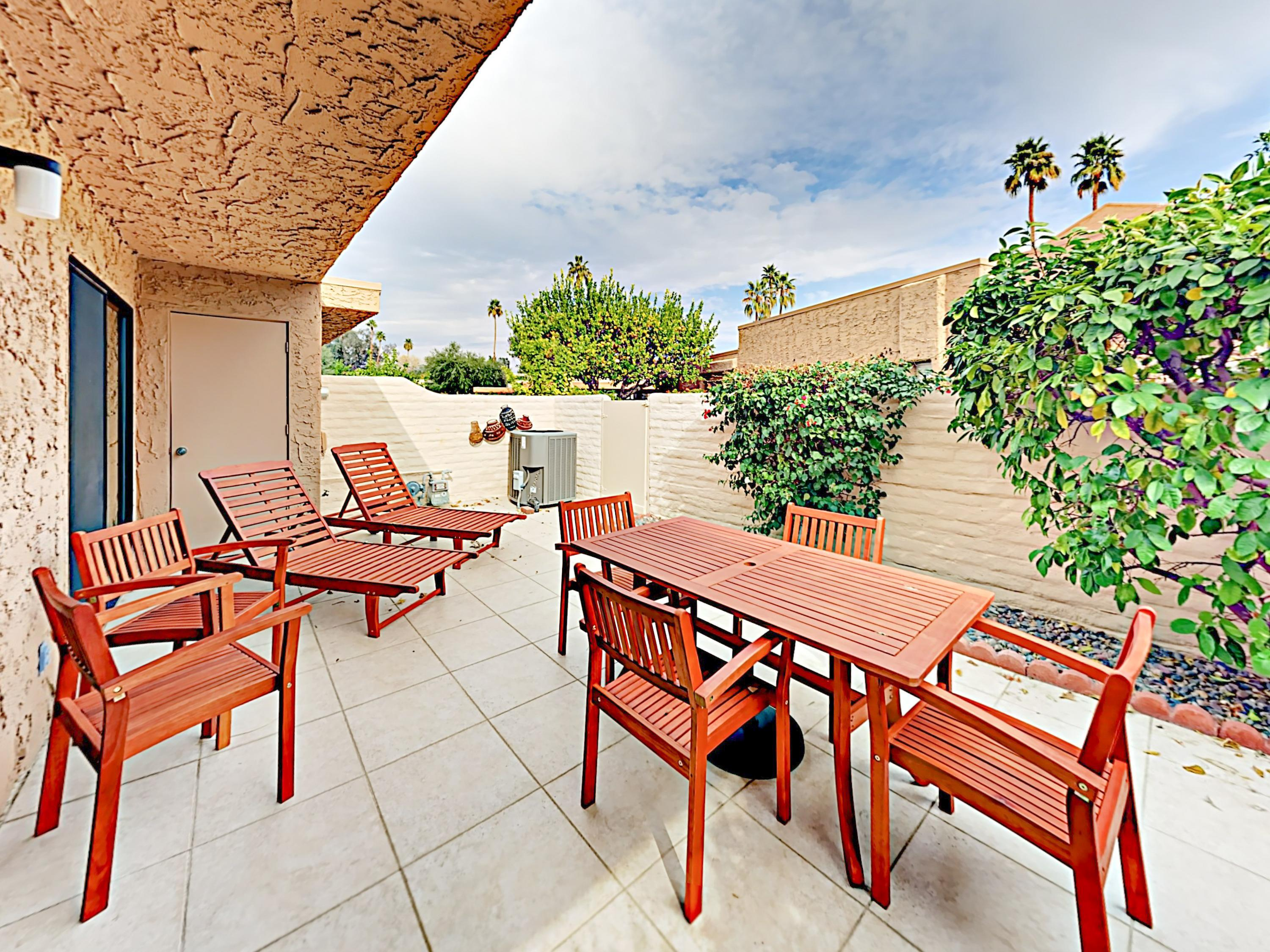 Enjoy dining on your enclosed private patio.
