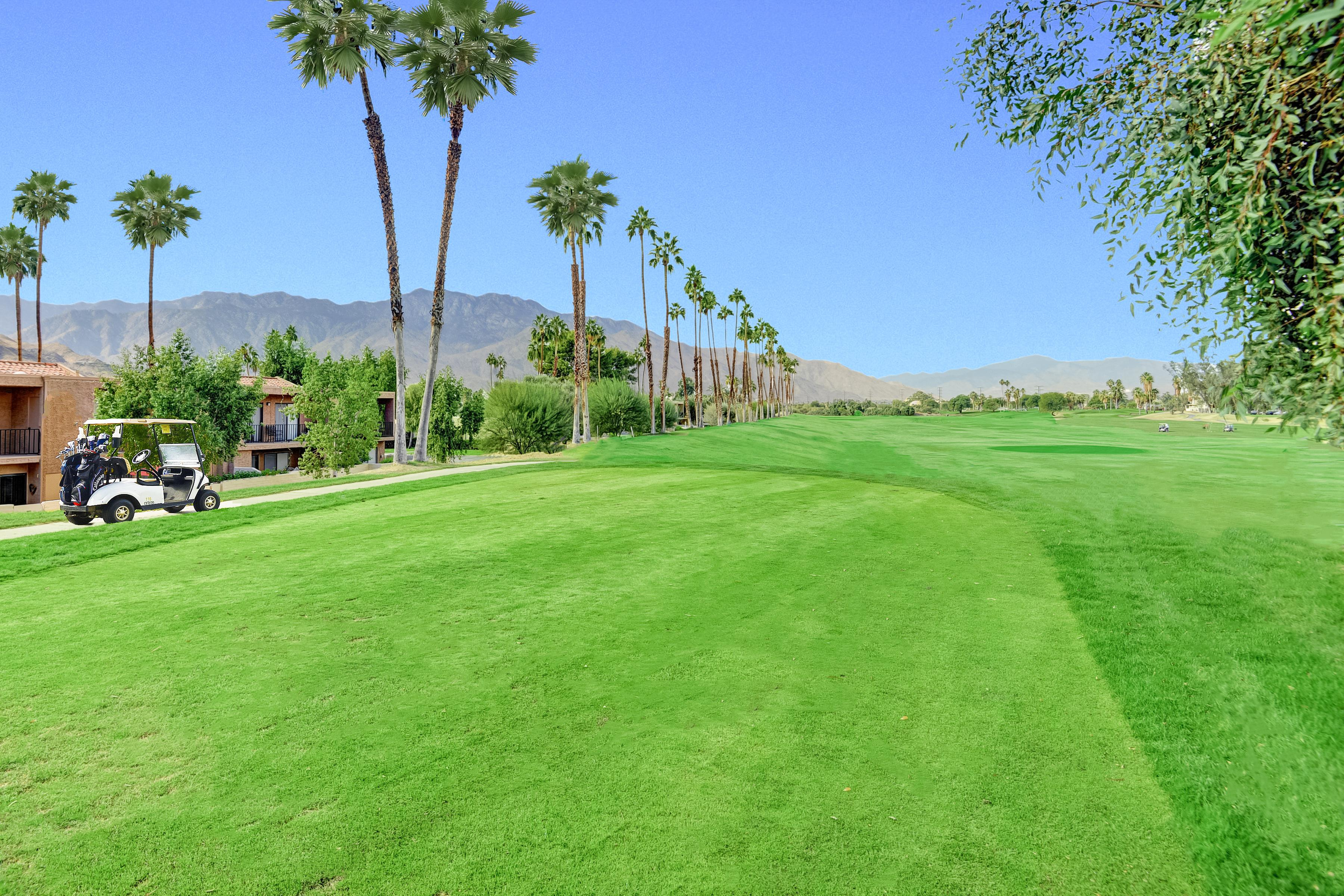 The condo is located right beside the pristine Tahquitz Creek Golf Resort.