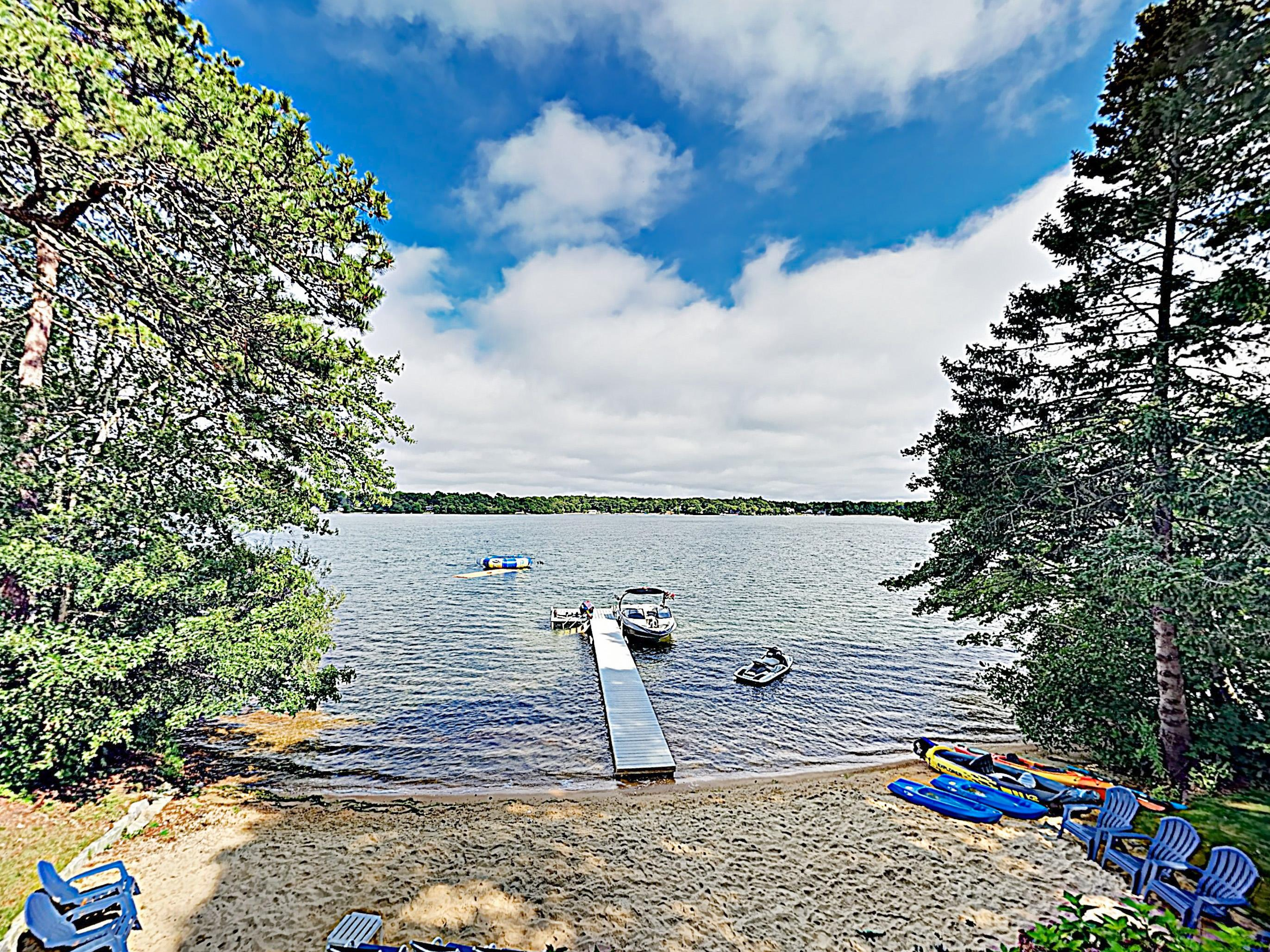 Stunning waterfront views steal the show at this beautifully renovated on the tranquil waters of Johns Pond.