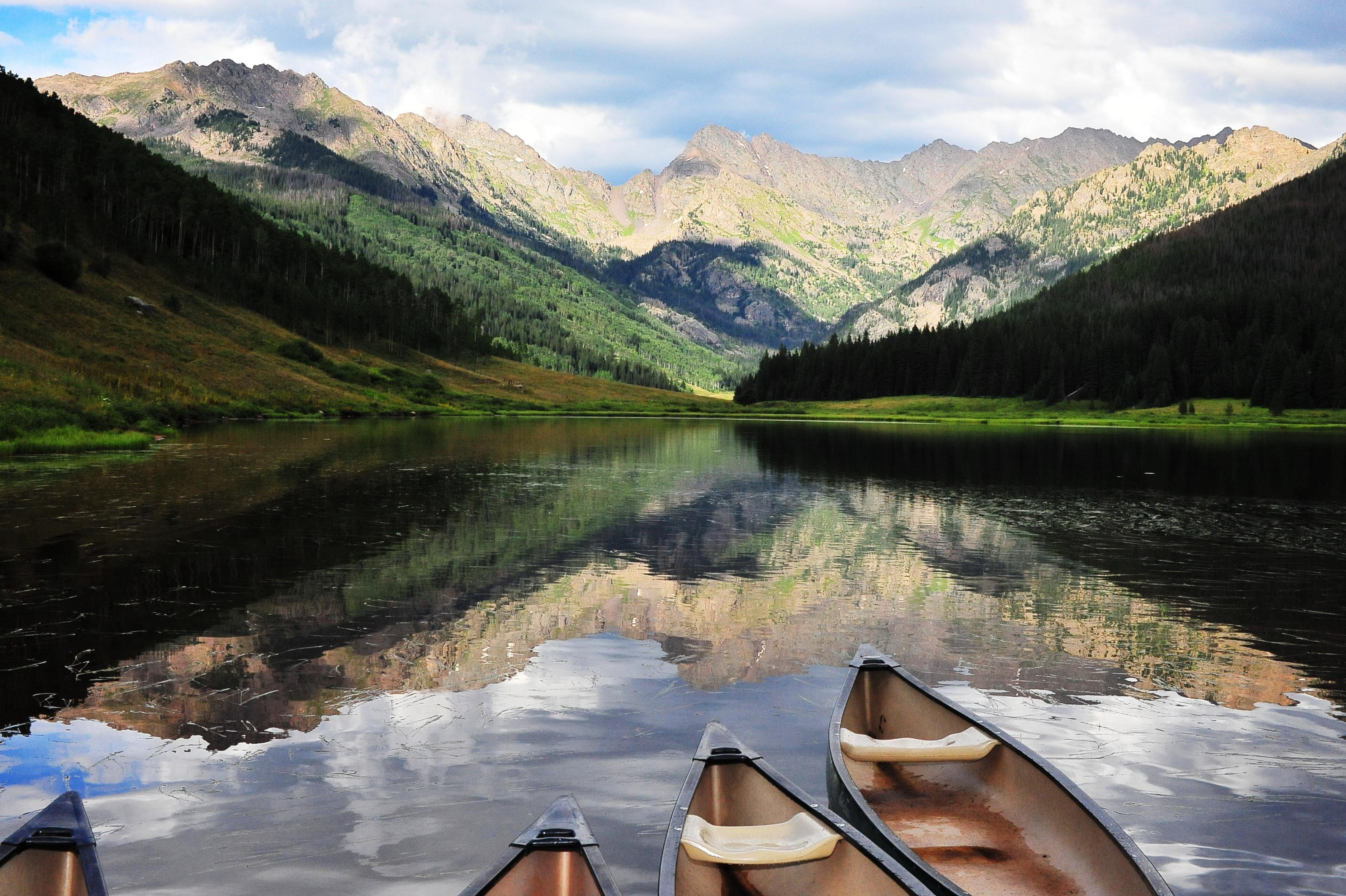 Summer activities in Vail include spending time on the water in a kayak or canoe.
