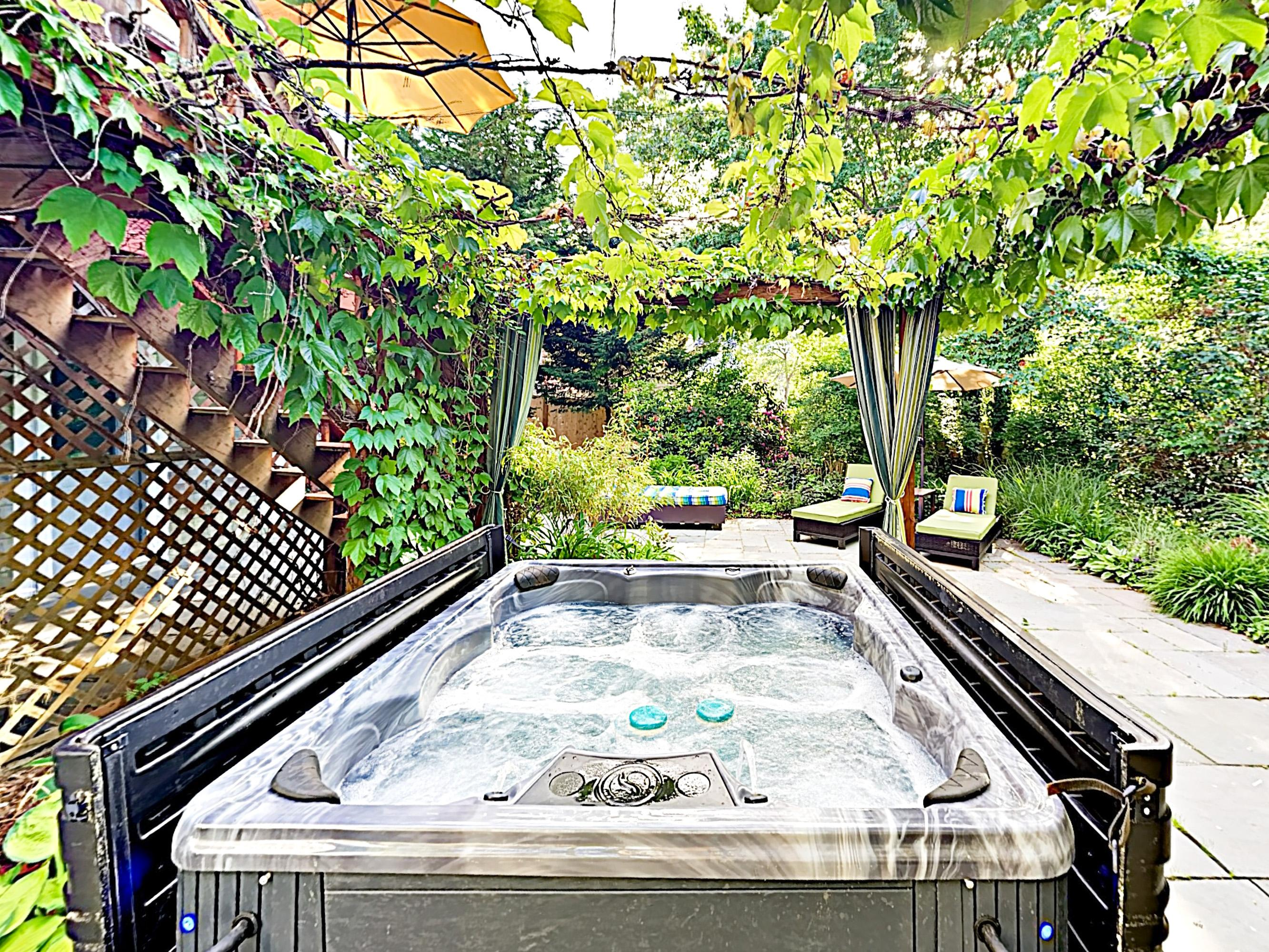 Take rejuvenating dips in the private hot tub.
